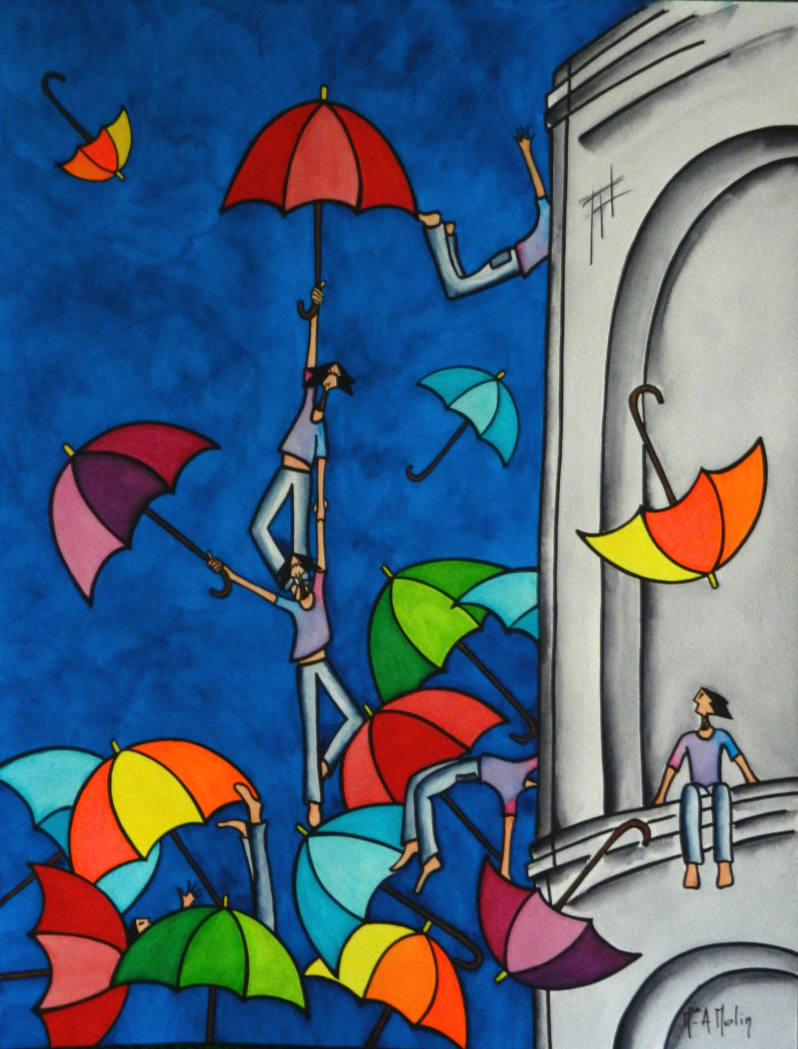 «Donnez-nous des parapluies». Aquarelle et marqueur acrylique (uniquement pour les contours en noir) sur papier - Format 65X50cm