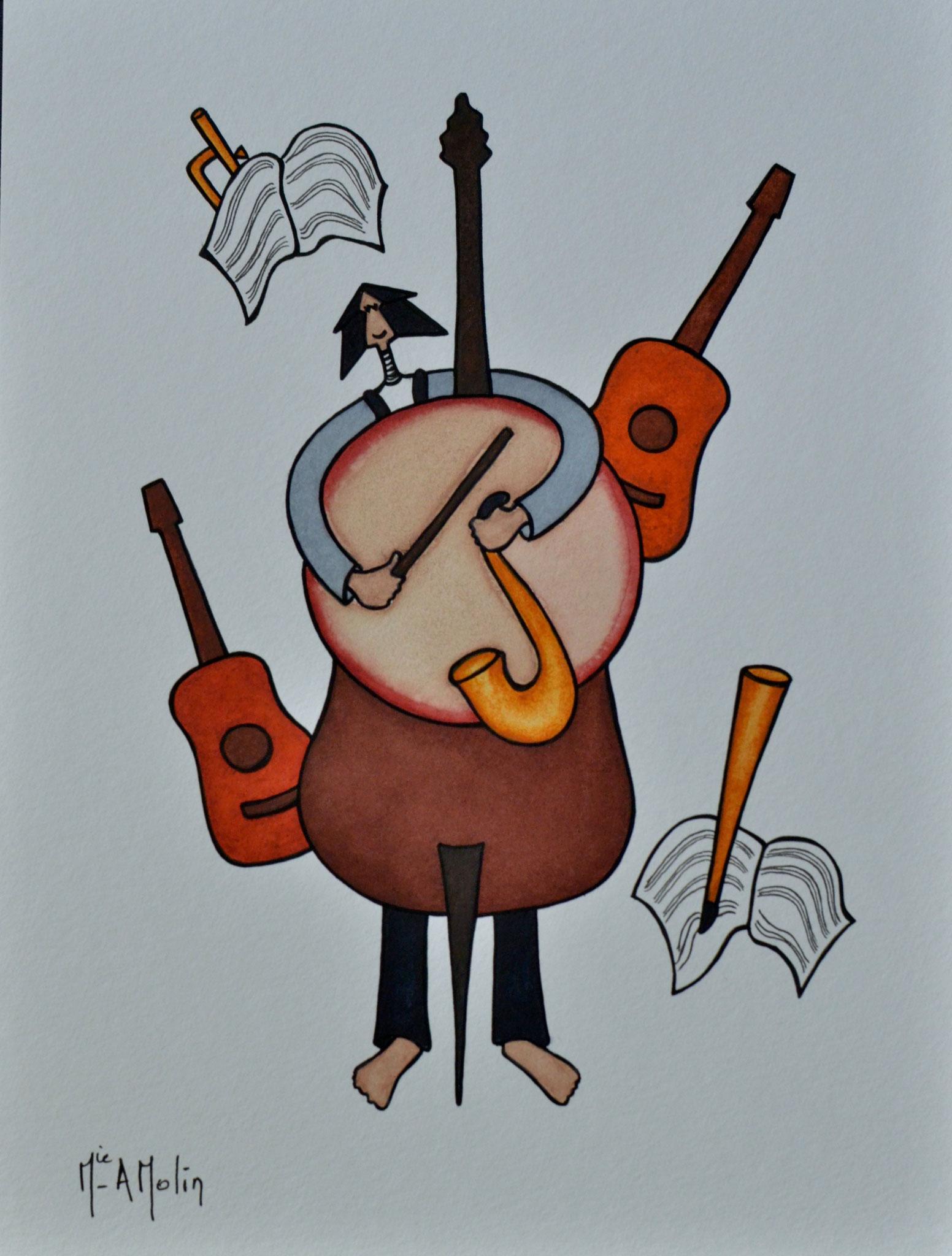 «L'homme orchestre». Aquarelle et marqueur acrylique (uniquement pour les contours en noir) sur papier - Format 40X30cm