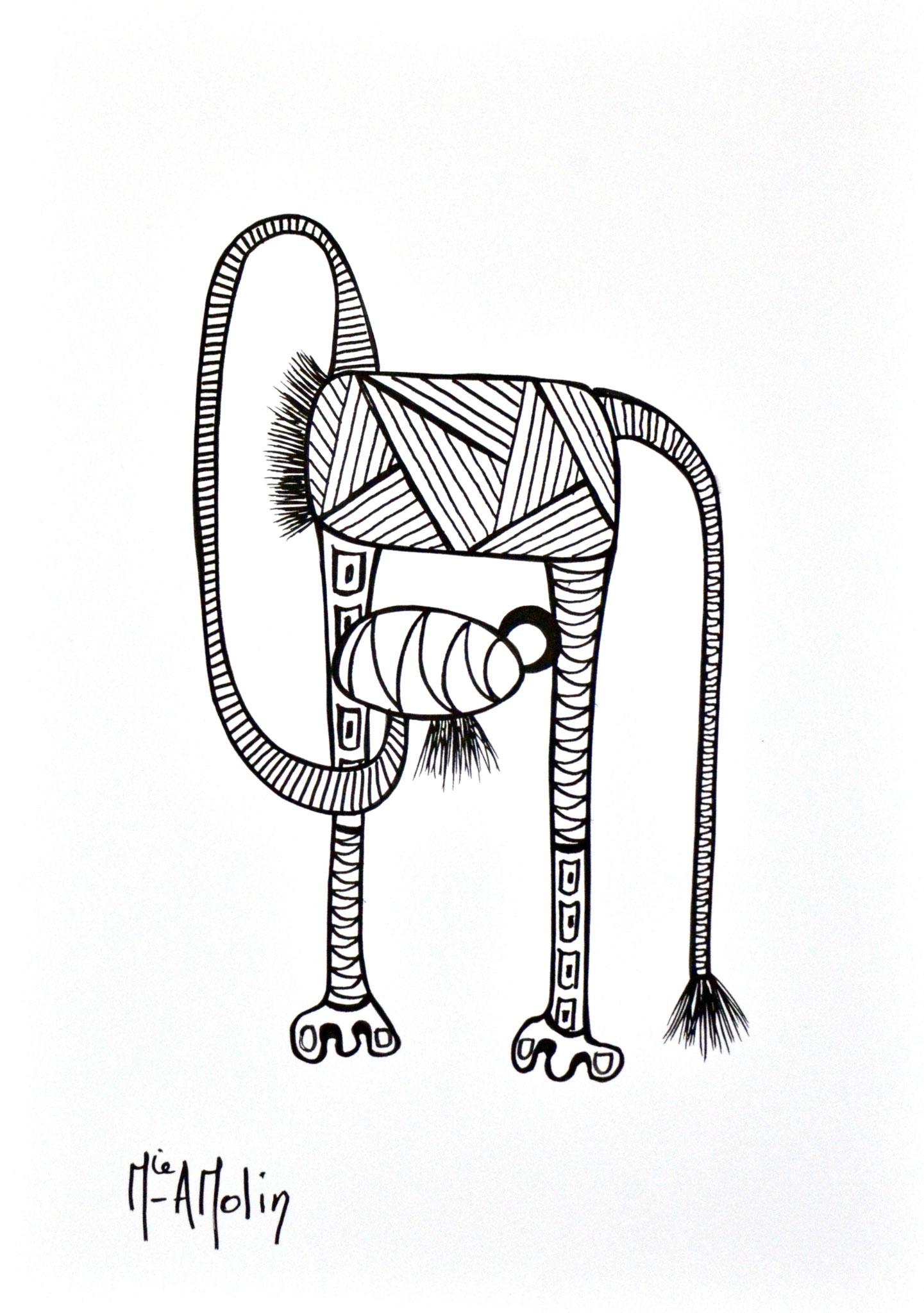 """""""Nos amis les bêtes"""" - Marqueur peinture sur papier - format 29,7X21 cm"""