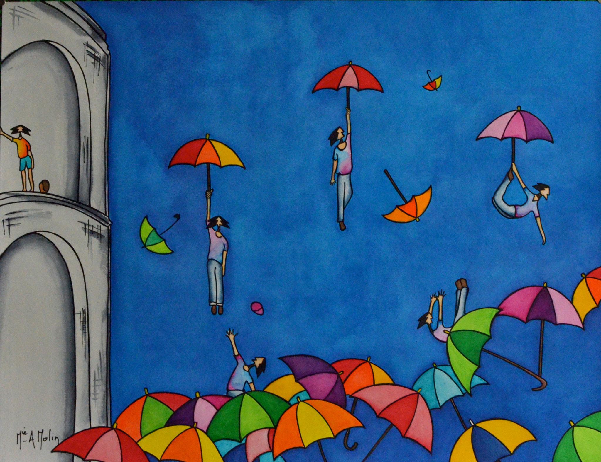«Donnez-nous des parapluies». Aquarelle et marqueur acrylique (uniquement pour les contours en noir) sur papier - Format 50X65cm