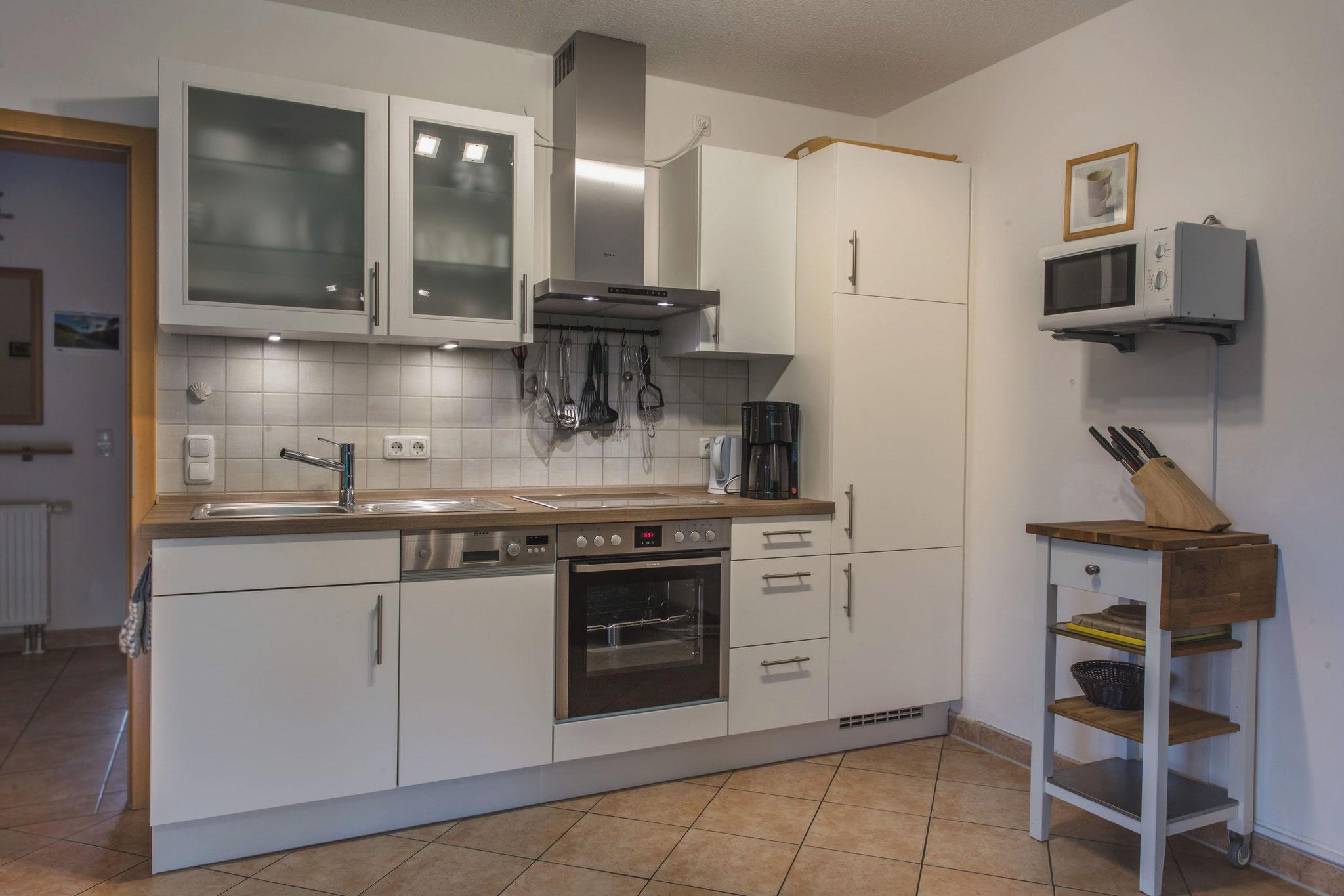 Komplett ausgestattete Küche mit Geschirrspüler und Backofen