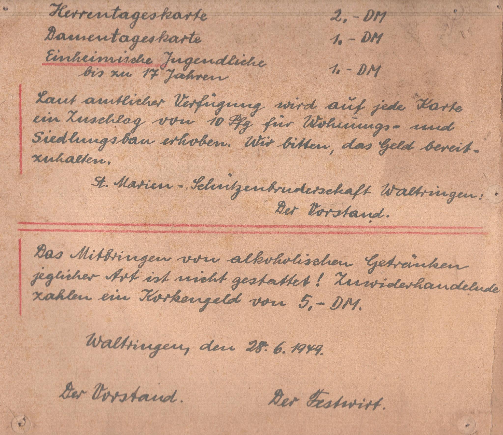 Schützenfest 1949: Festordnung!