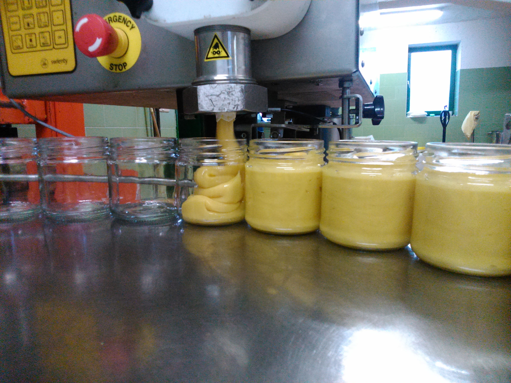 Hier wird Kornblumenhonig in 500g Gläser abgefüllt.