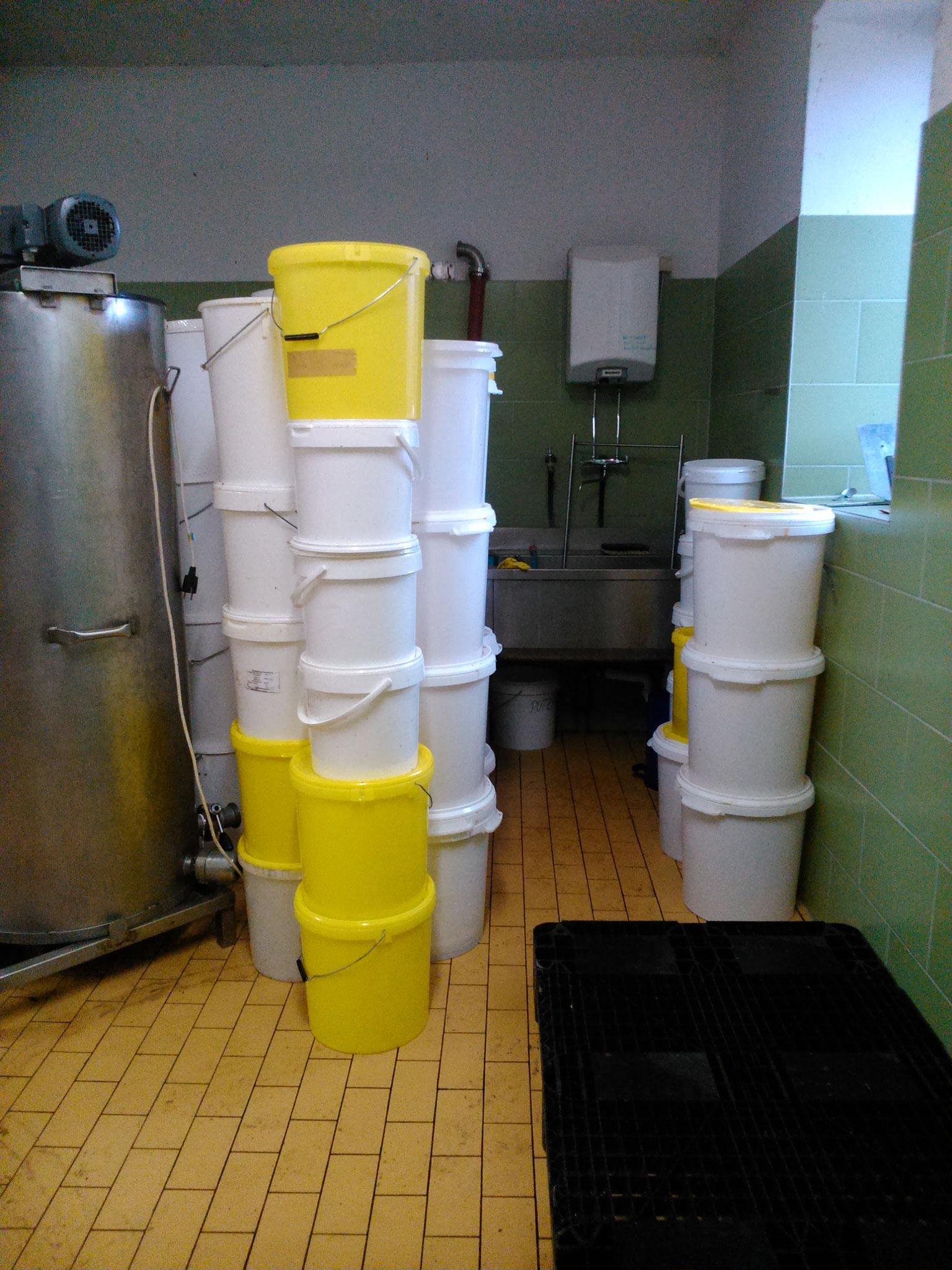 ...und viele leere Honig- Eimer warten auf das Abspülen ;-)