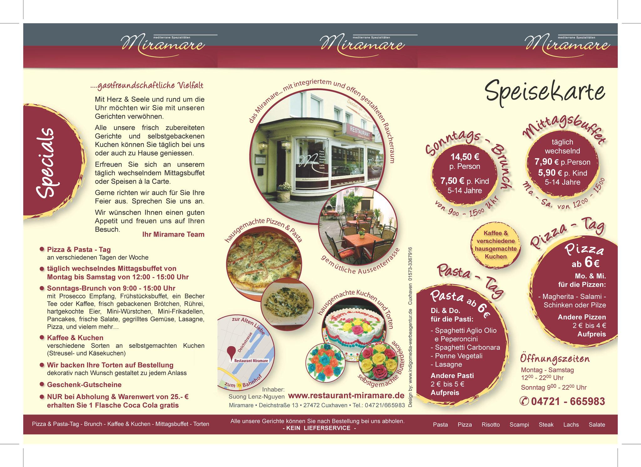 Speisekarte Pizzeria Miramare, Cuxhaven Germany