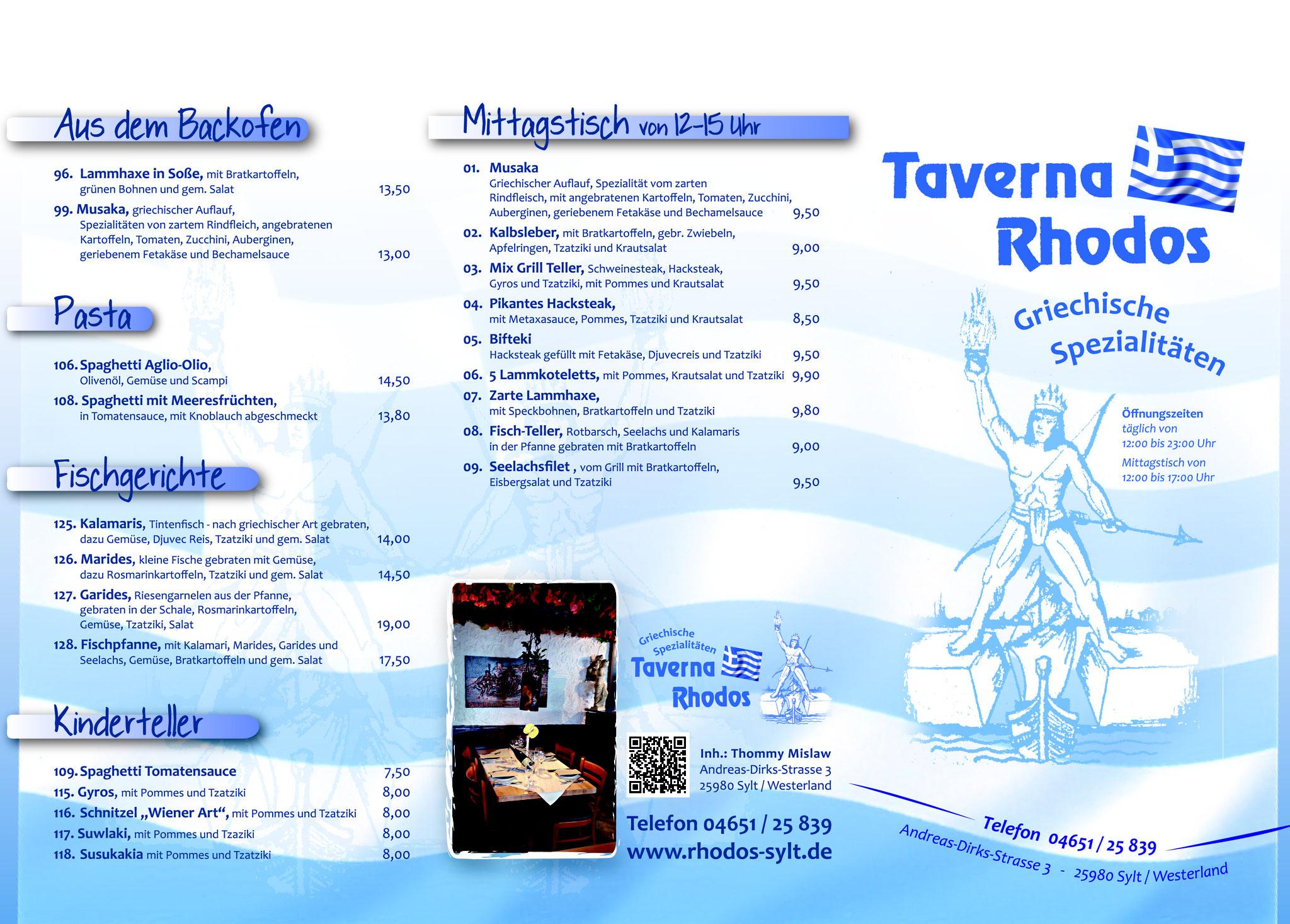Speisekarte Taverna Rhodos, Sylt Germany