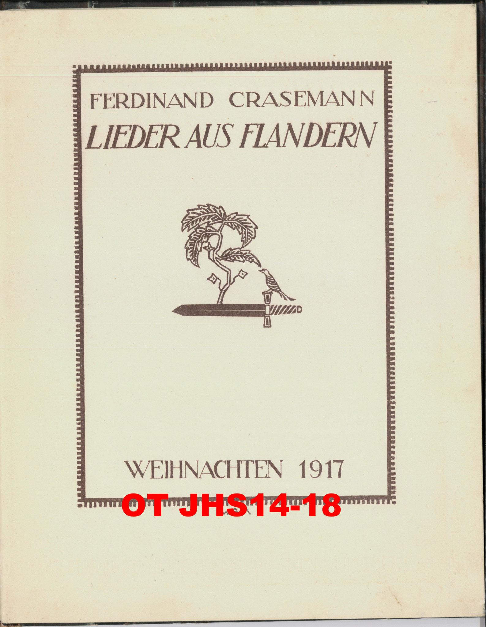 Archives OT JHS14-18 - page couverture du recueil de F. Crasemann édité et publié à la Noël 1917 - Propriété exclusive (Reproduction et copie interdites)