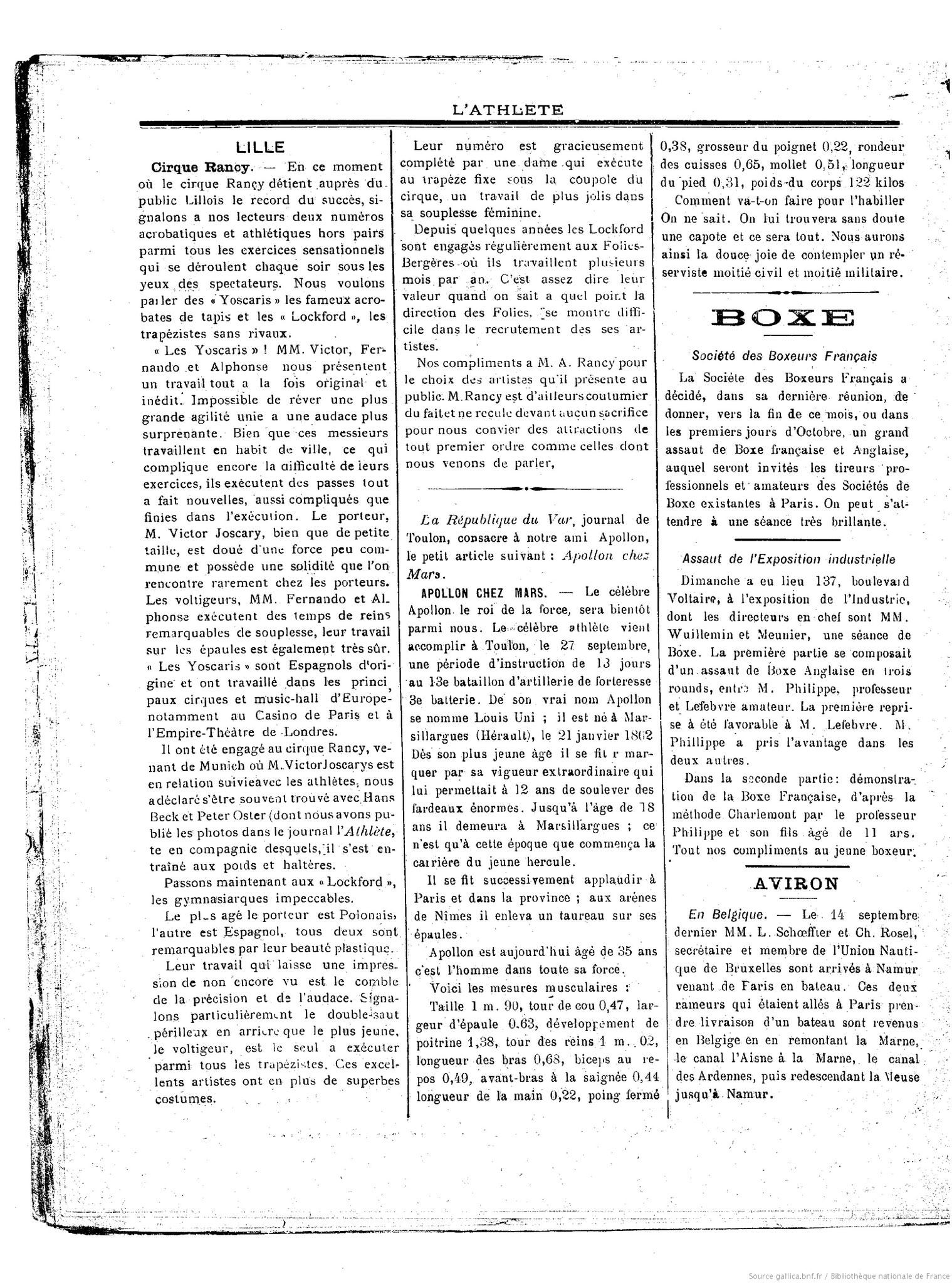 L'Athlète, journal athlétique illustré - 26 Sept. 1897