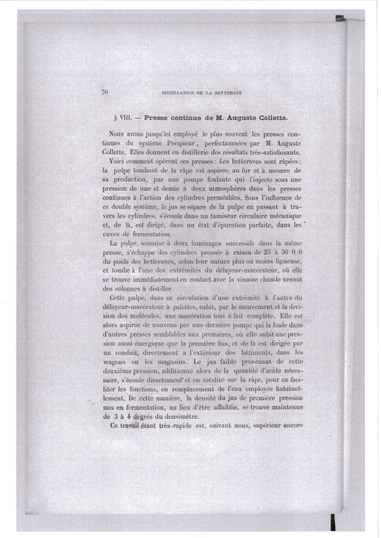 Extrait de D. Savalle - Progrès récent de la distillation (1873)