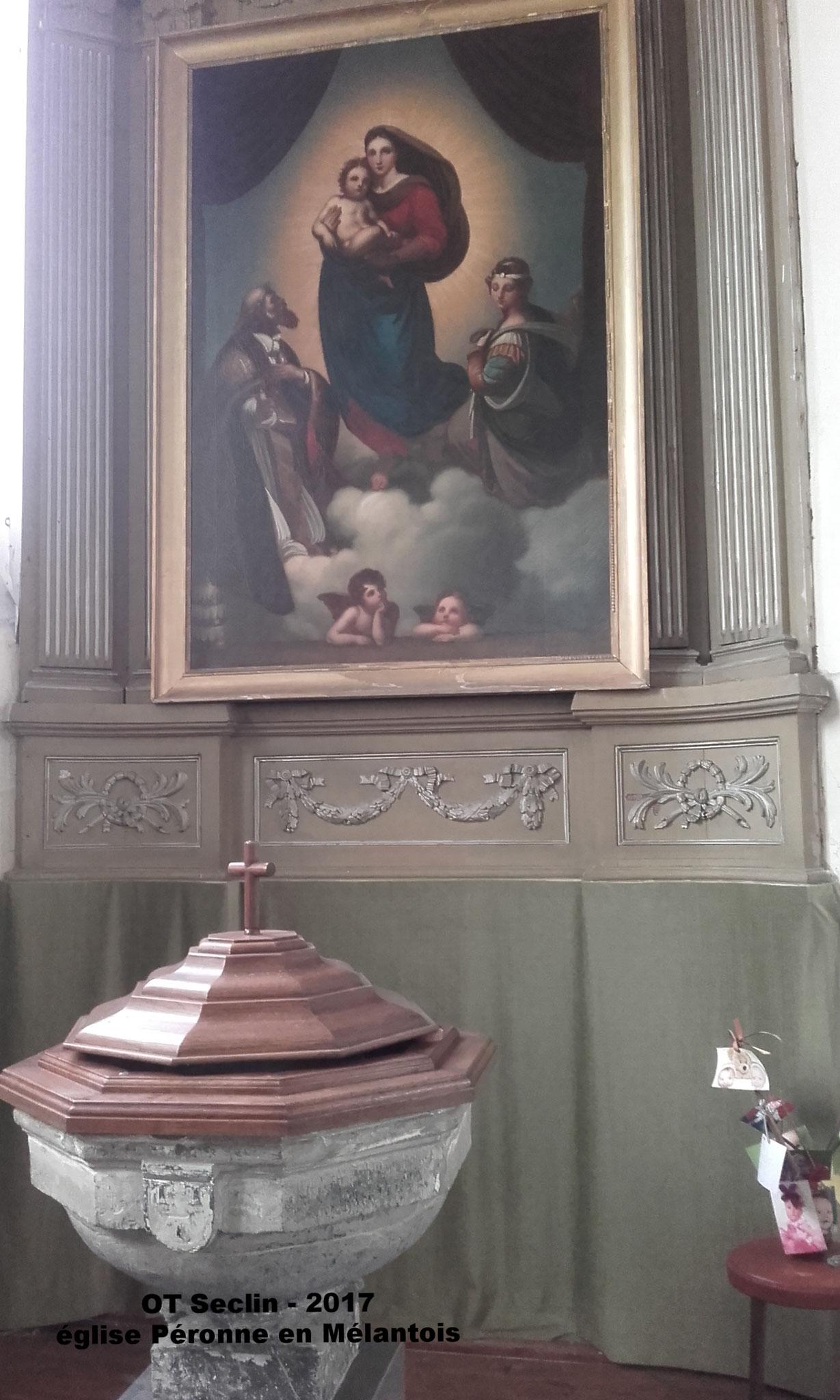 église Péronne en Mélantois, La (copie) Madone de Saint Sixte restaurée (2017)