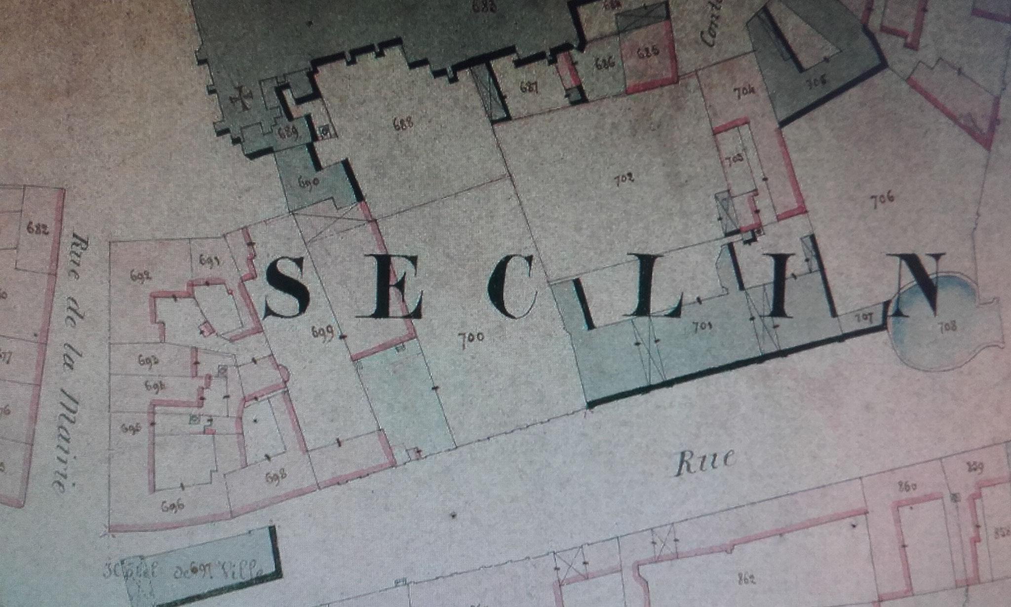 Plan Cadastre Seclin 1857 - ADN - détail centre-ville