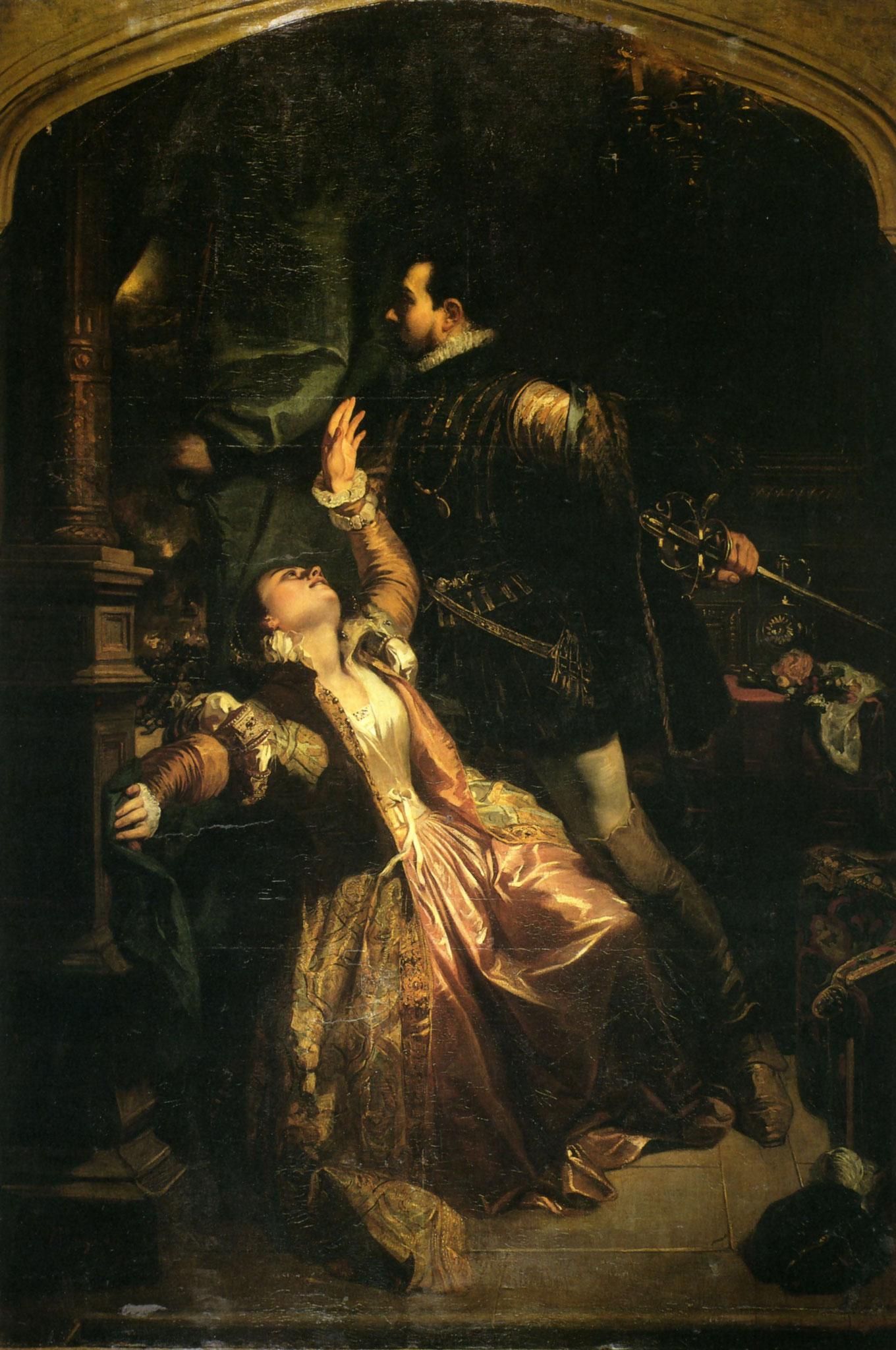Scène de Les Huguenots par Camille Roqueplan - Raoul et Valentine (Musée Beaux Arts Bordeaux)