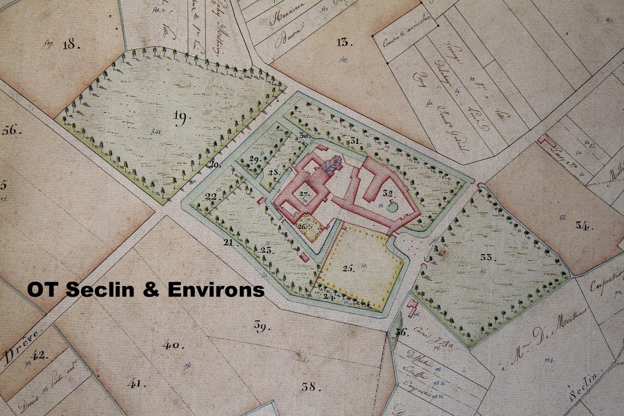 Plan cadastre 1822 - l'Hôpital Notre-Dame avant les réaménagements de Ch. Marteau. La Drève que nous connaissons n'existe pas encore, par contre une autre Drève y arrive