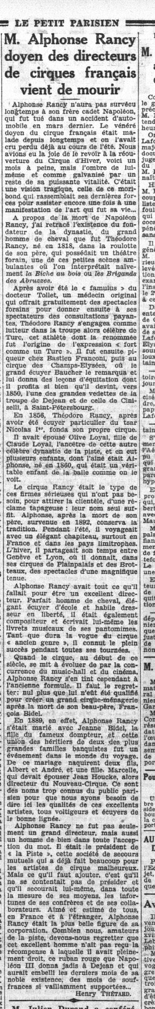 Le Petit Parisien - 20 Octobre 1932 - Mort de Alphonse Rancy