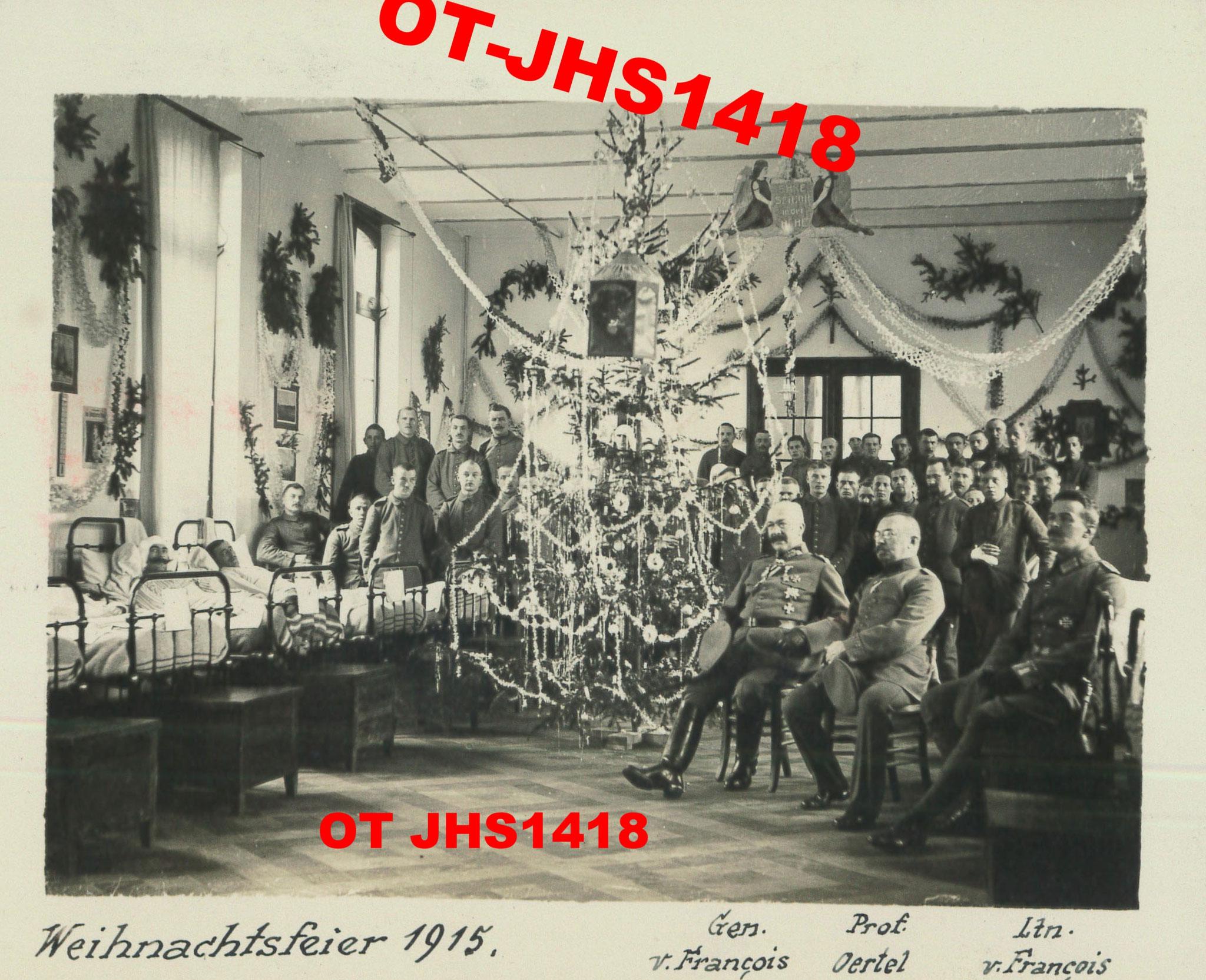 Archives OT JHS14-18 - chambrée - visite des officiers aux blessés à l'Hôpital Notre-Dame, Noël 1915 (Reproduction et copie interdites)