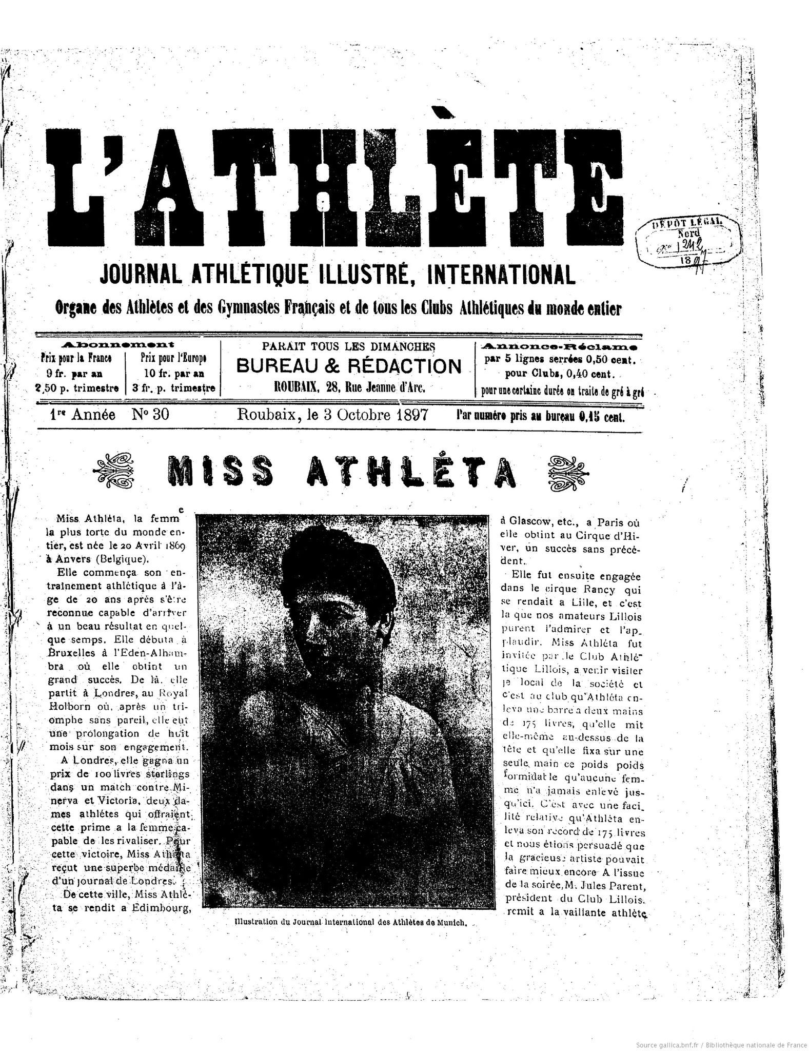 l'Athlète - 1897-10-03