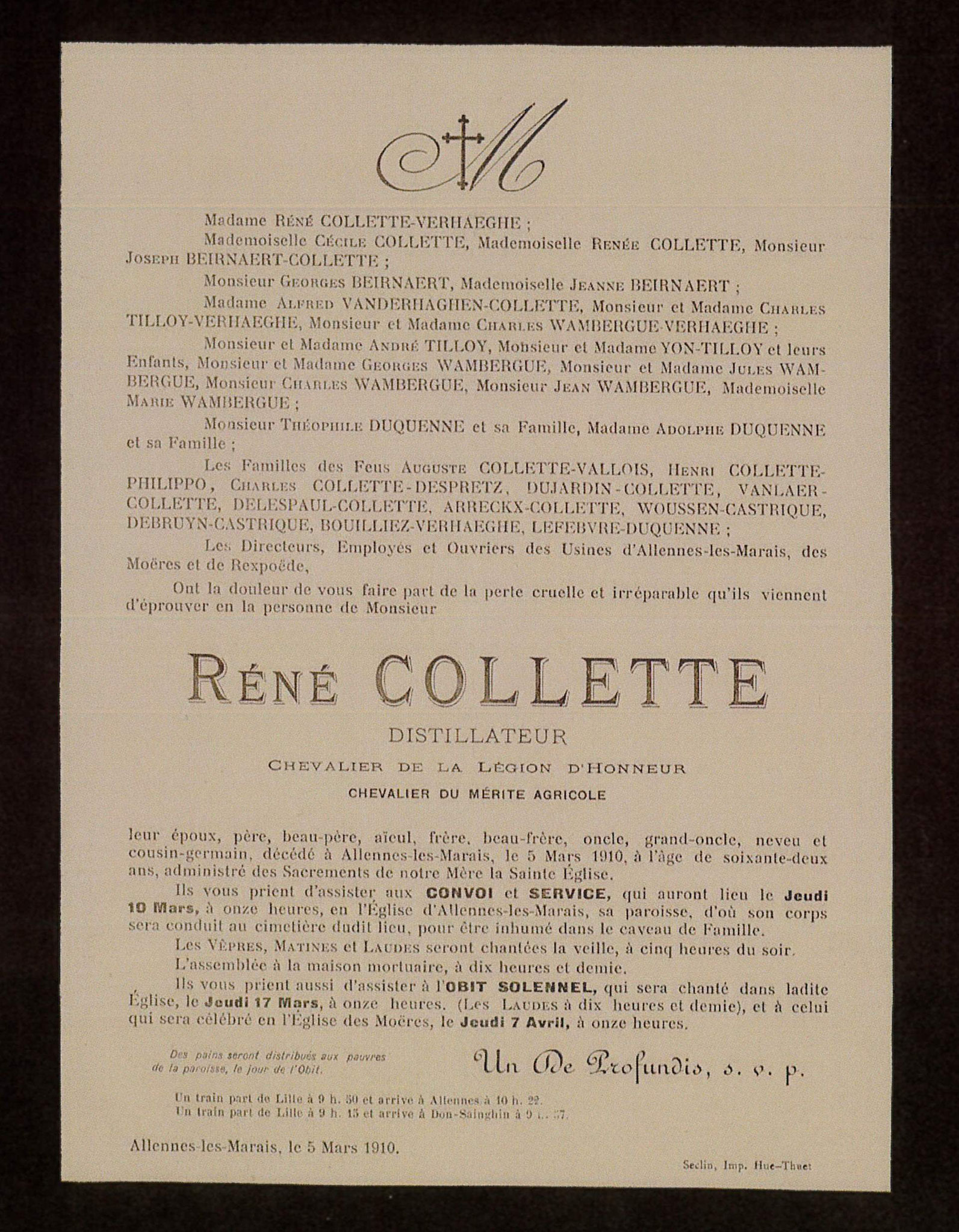 Mortuaire de René Collette