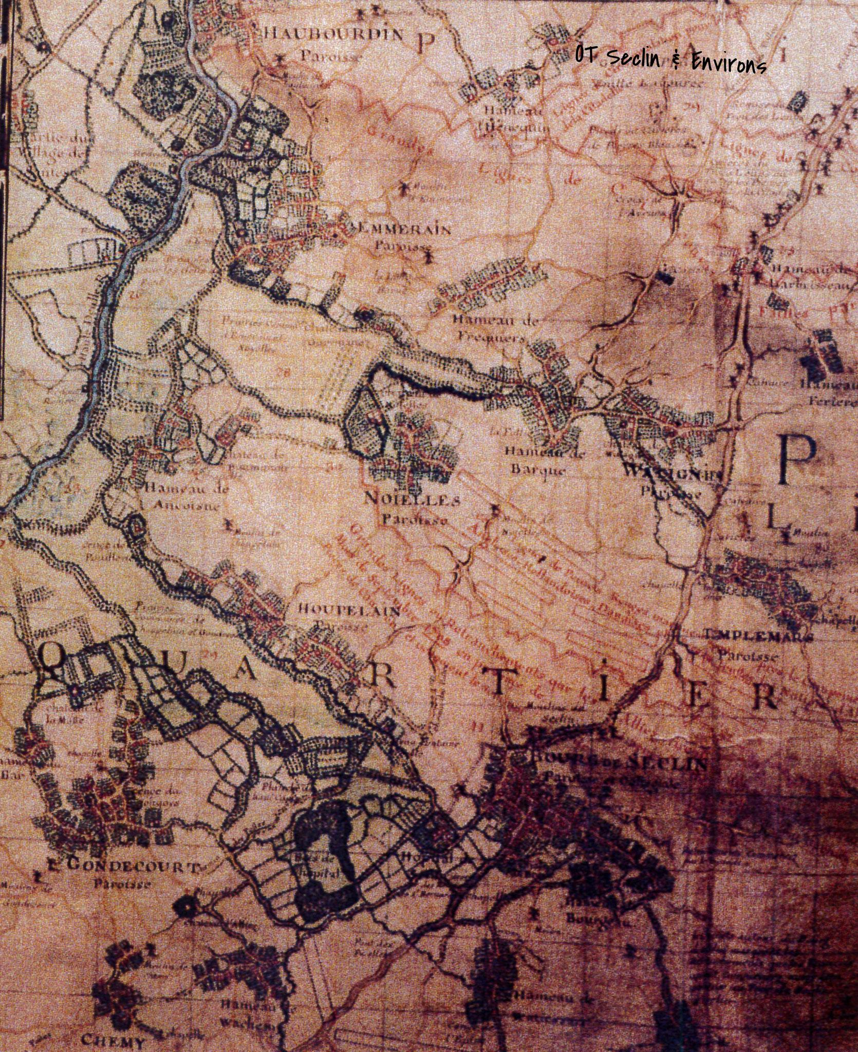 Plan de la région autour de Lille en 1727, on distingue Seclin et les marais avoisinnants
