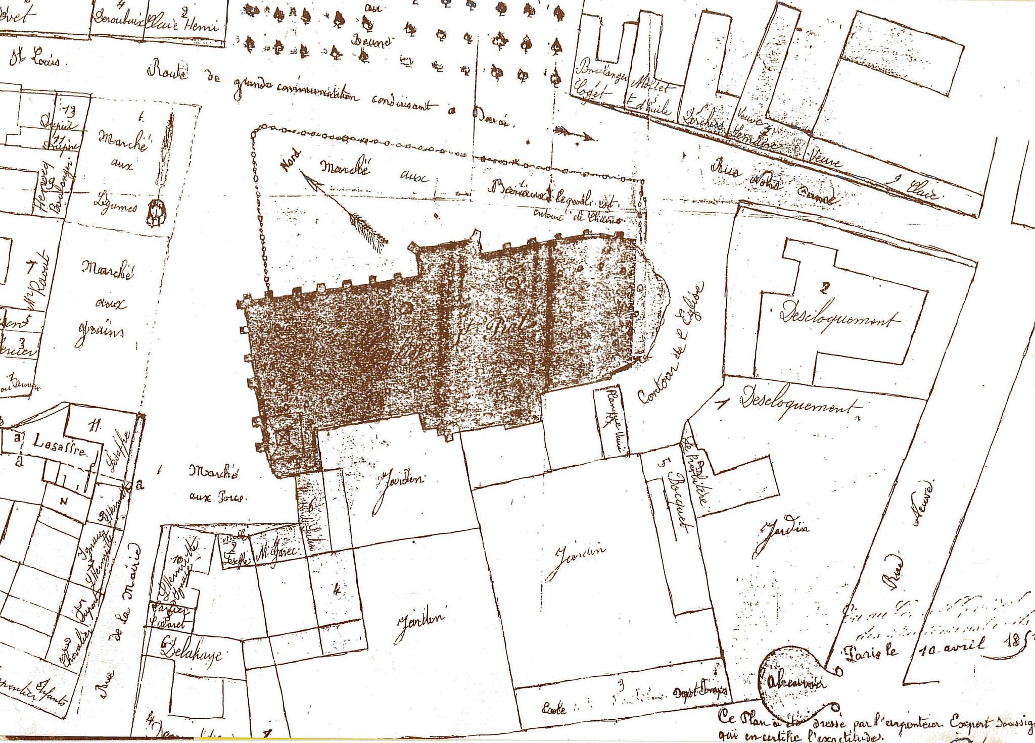 Plan Cadastre Seclin 1851 - détail centre-ville
