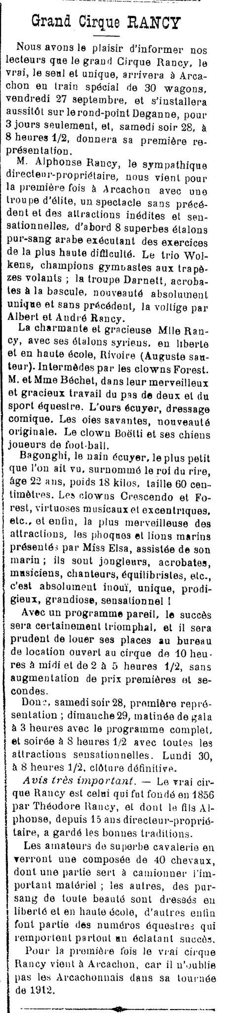 L'Avenir d'Arcachon - 22 Septembre 1912