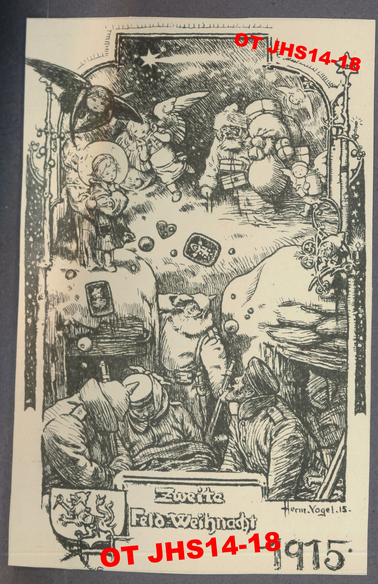 Archives OT JHS14-18 - carte de Noël allemande 1915 extraite du livre de Ernst Kopp (Reproduction et copie interdites)