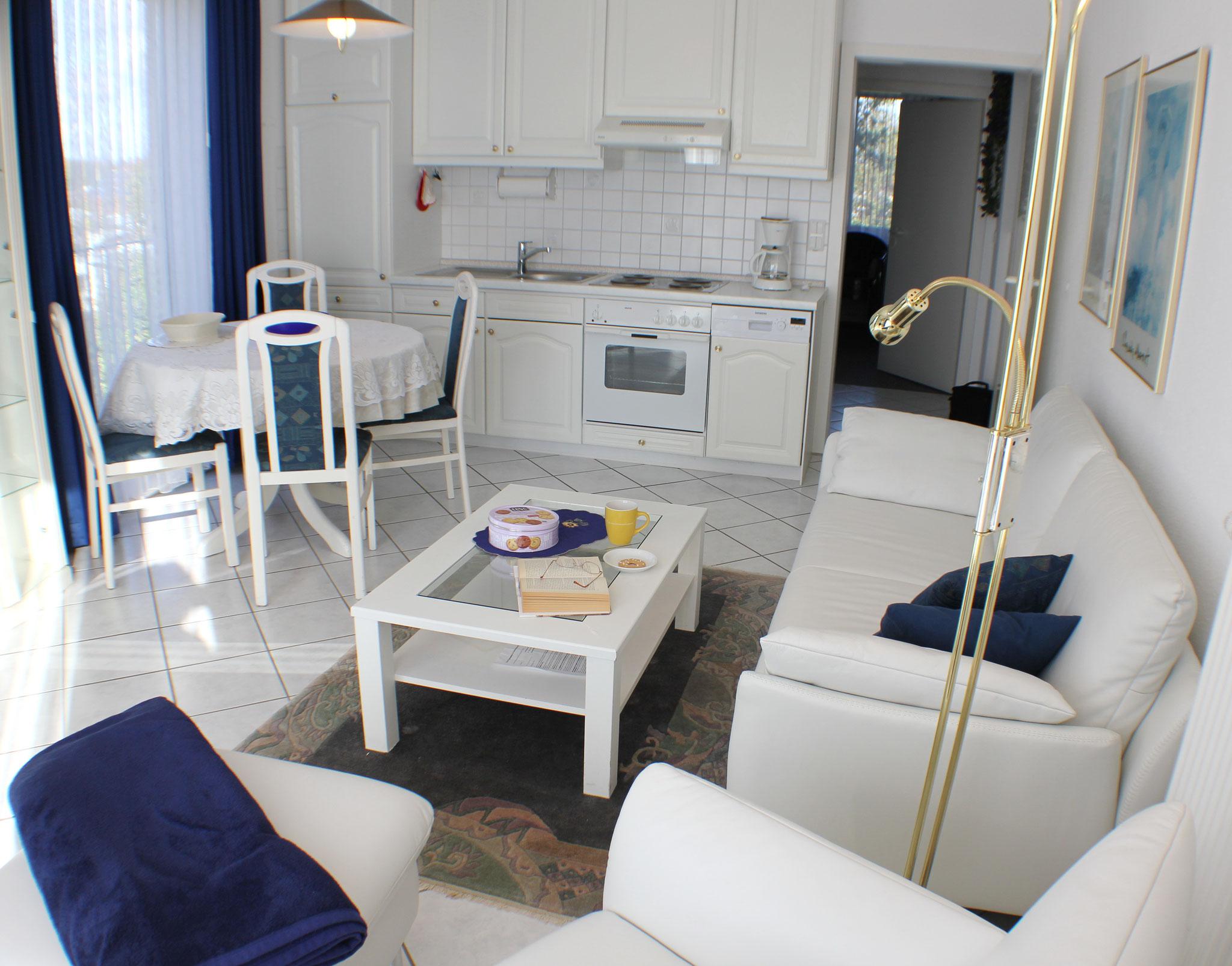 Blick auf den Essbereich und der Küchenzeile mit Geschirrspüler und Mikrowelle