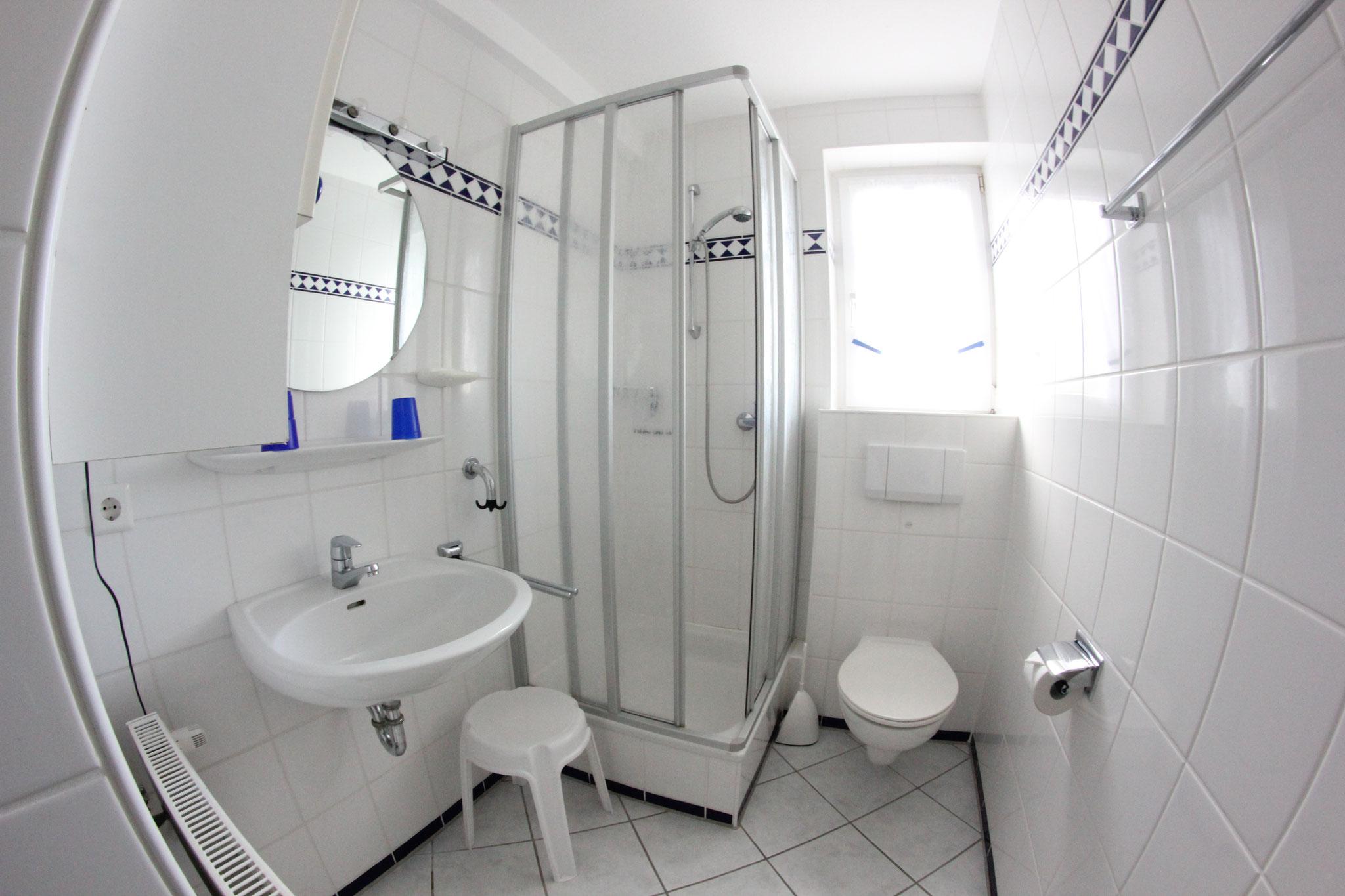 Bad mit Dusche und WC, Fön  - Bad mit Fenster