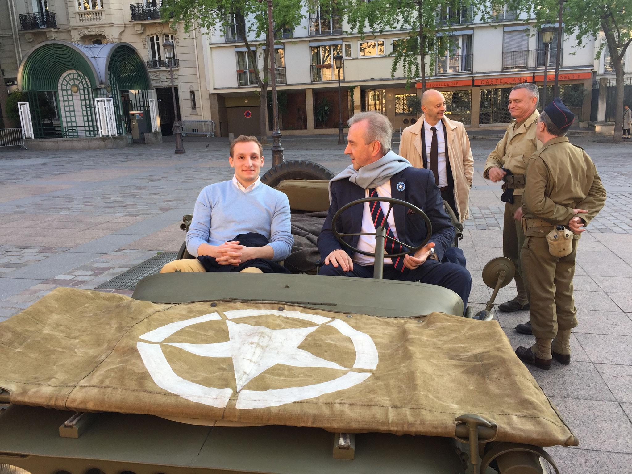Commémoration du 8 Mai à la Mairie du 15è - Jeep - Gauthier Ribiollet & François POTIÉ LUSSIGNY