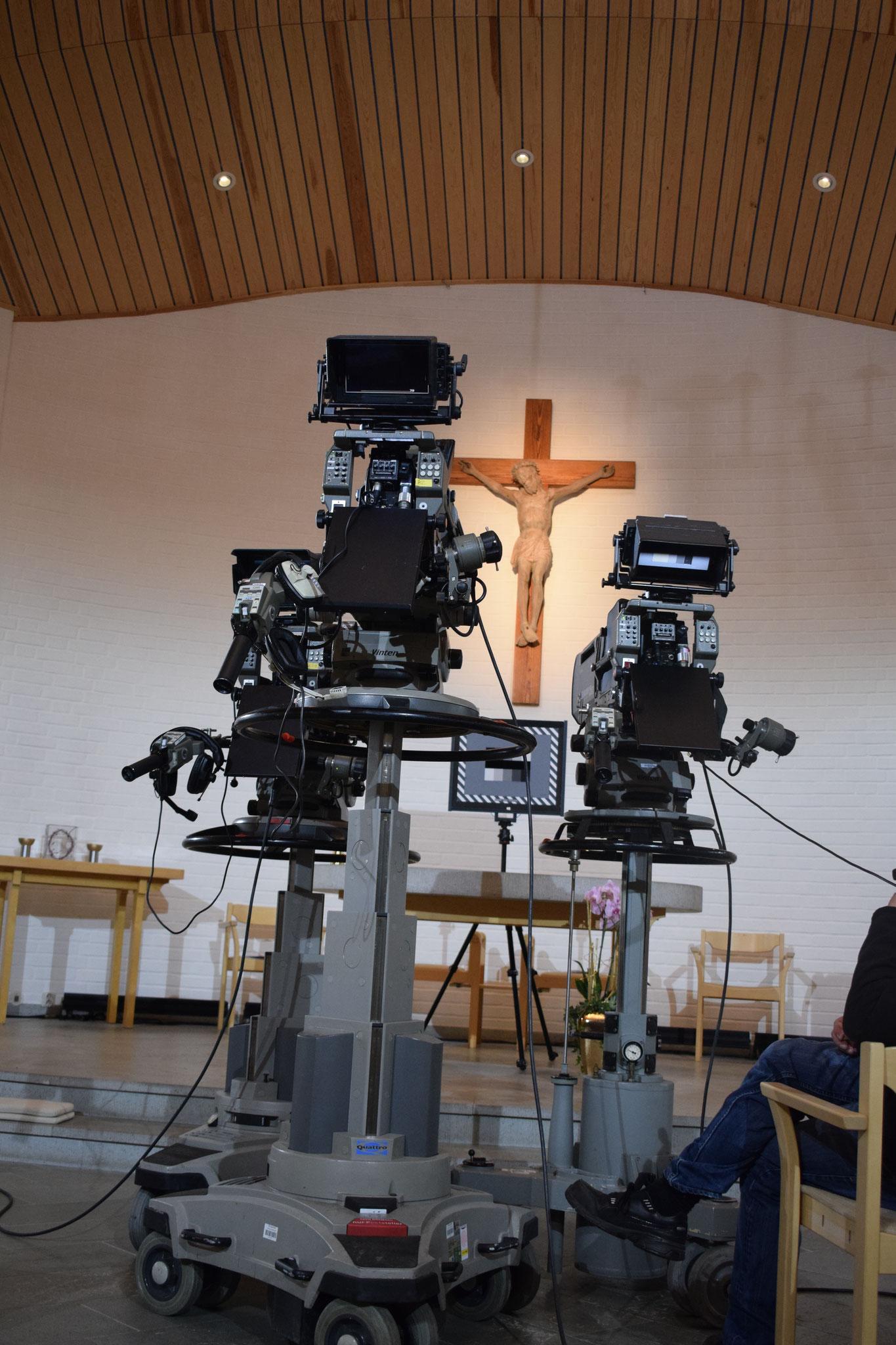 Ein Blick hinter die Kamera beim Fernsehgottesdienst in Vadstena
