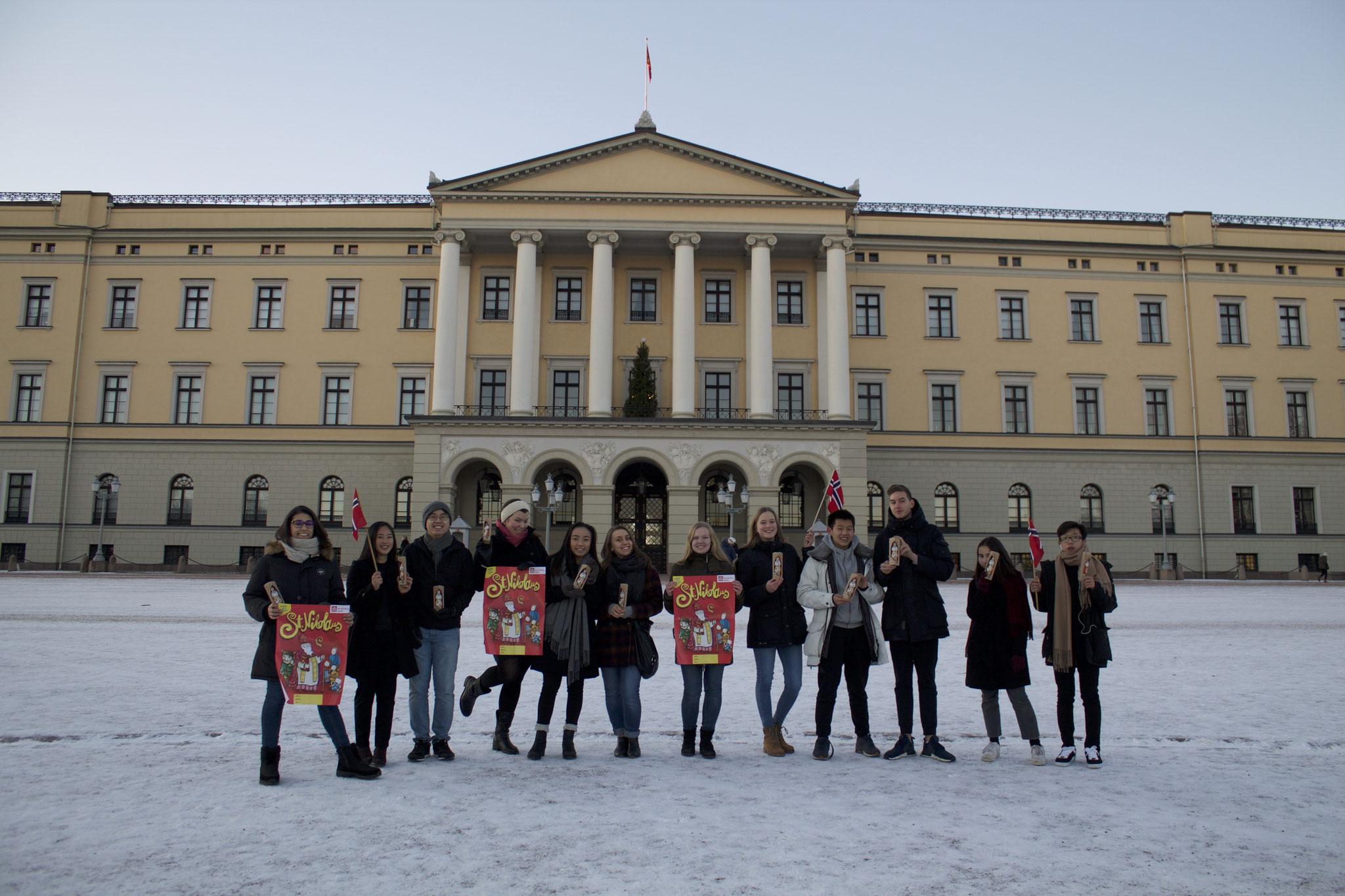 Charlotte Uhrig und Tabea Gerd-Witte mit norwegischen Jugendlichen vor dem Schloss in Oslo