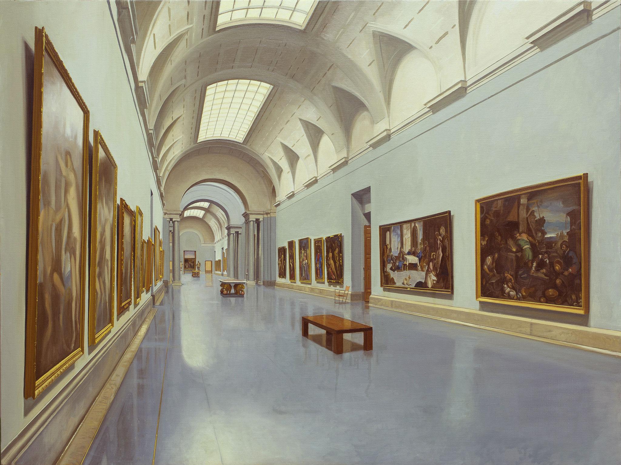 Vista de la galería central del Museo del Prado. Óleo sobre lienzo, 97 x 130 cm.