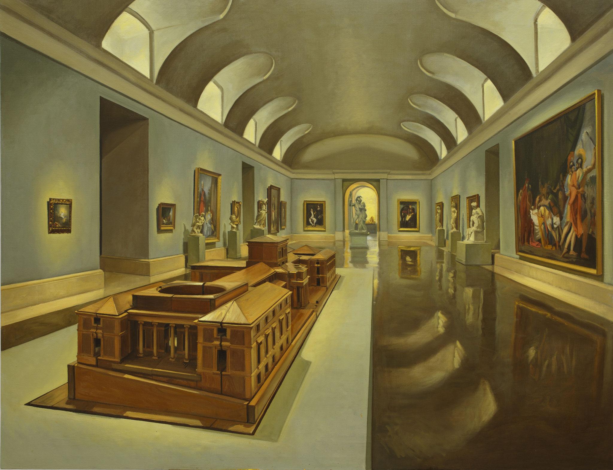Vista de la sala del Museo del Prado, con el modelo de Villanueva. Óleo sobre lienzo, 100 x 130 cm.
