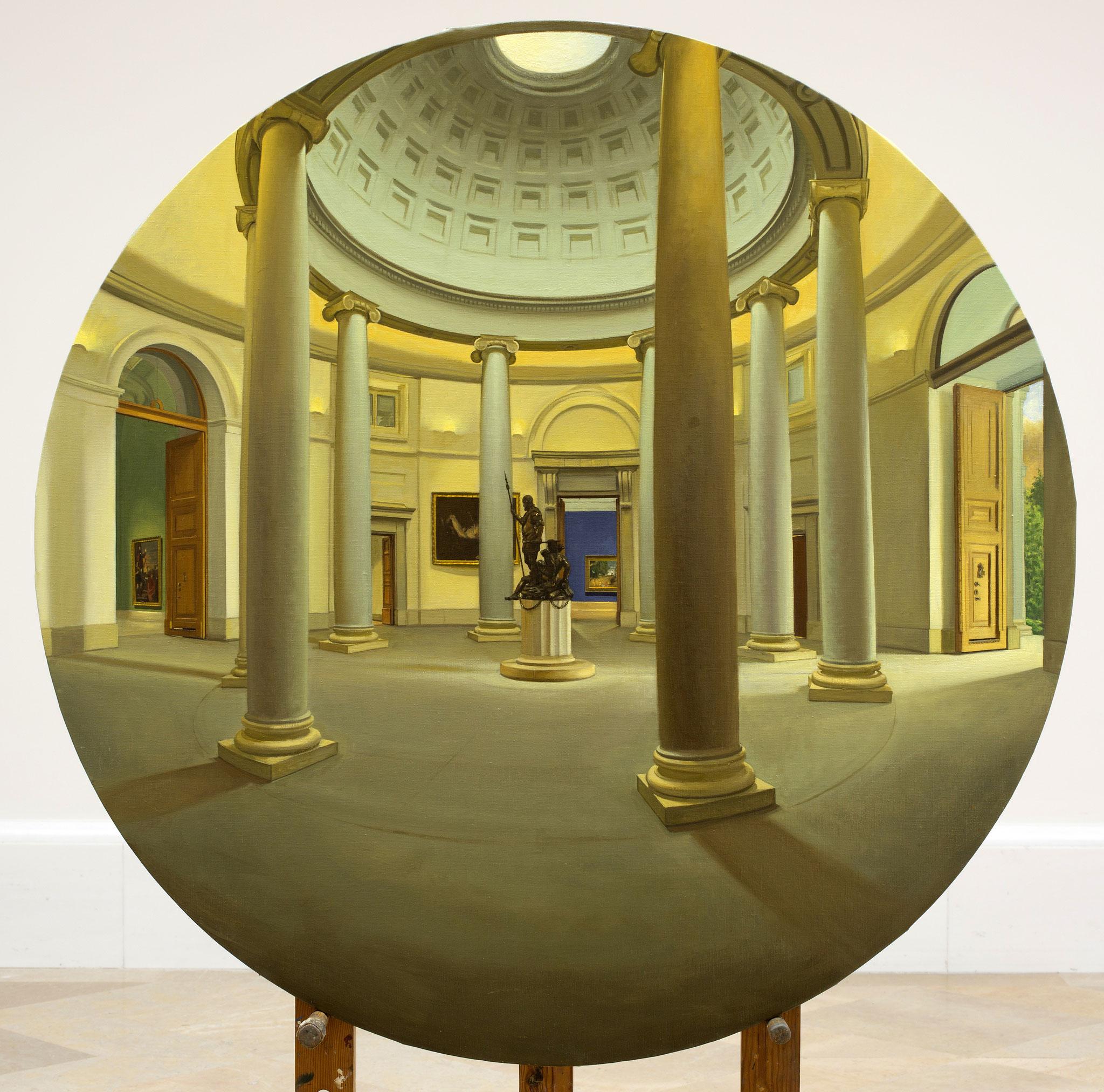 Vista de la rotonda del Museo del Prado. Óleo sobre lienzo, 120 cms. diámetro.
