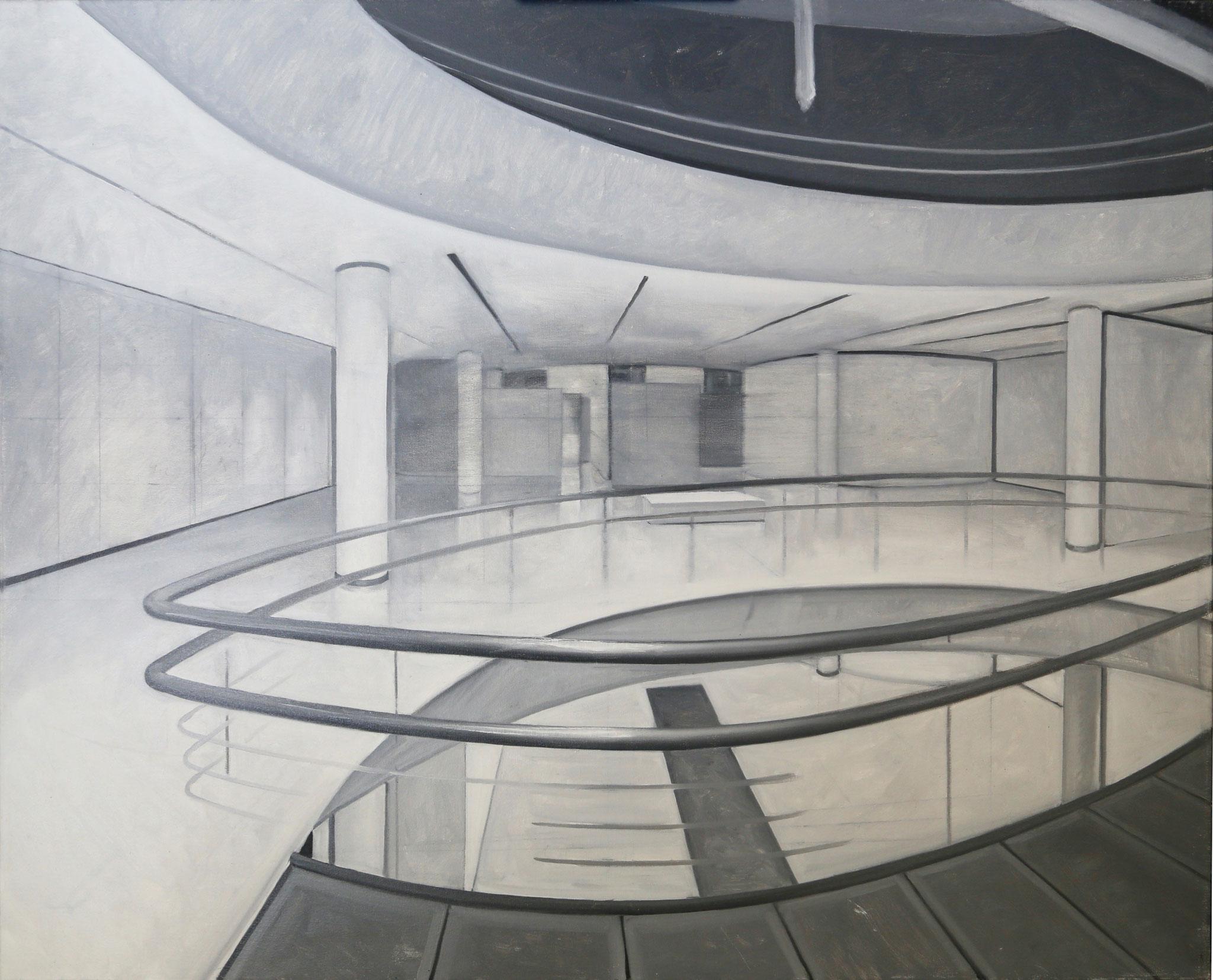 Interior postmoderno con perspectiva circular (grisalla). Óleo sobre lienzo, 81 x 100 cms.