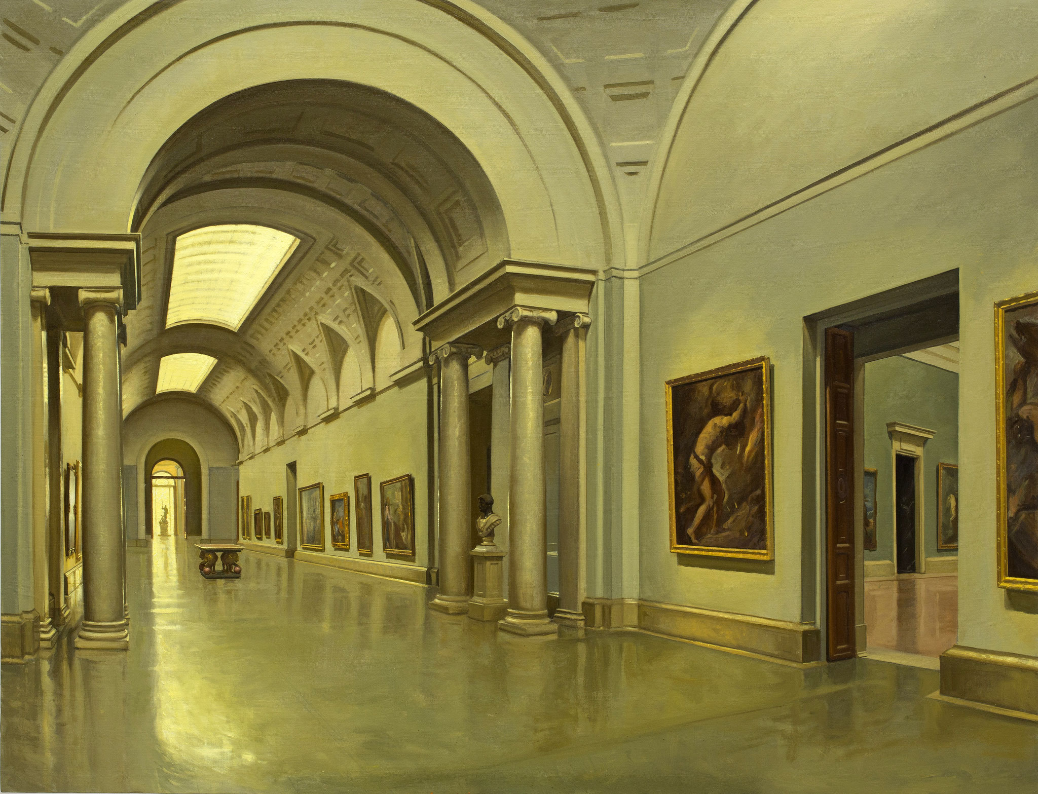 Vista de la galería central del Museo del Prado desde la sala 27. Óleo sobre lienzo, 100 x 130 cm.