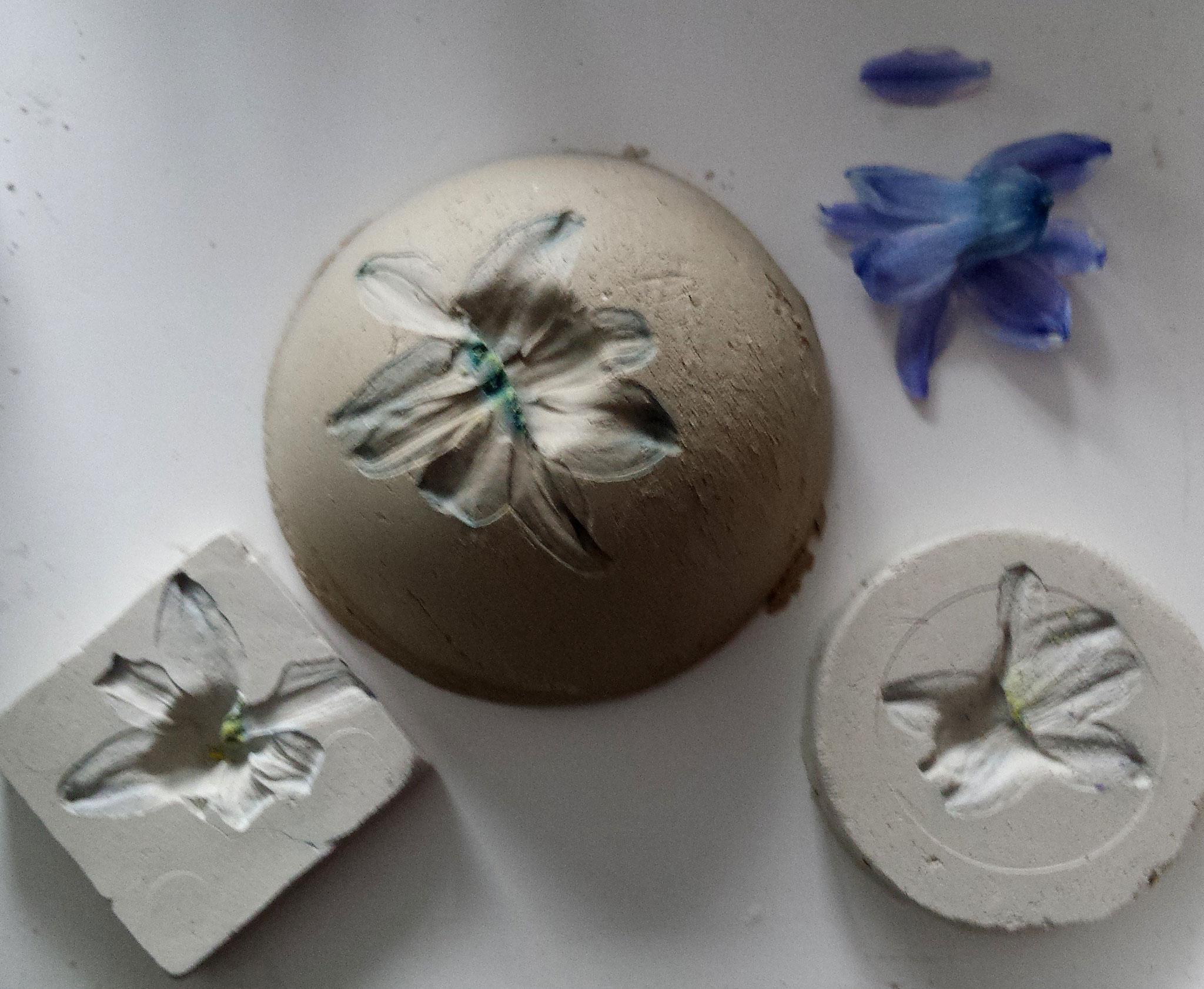 Blütenabdrücke in Ton und Gips