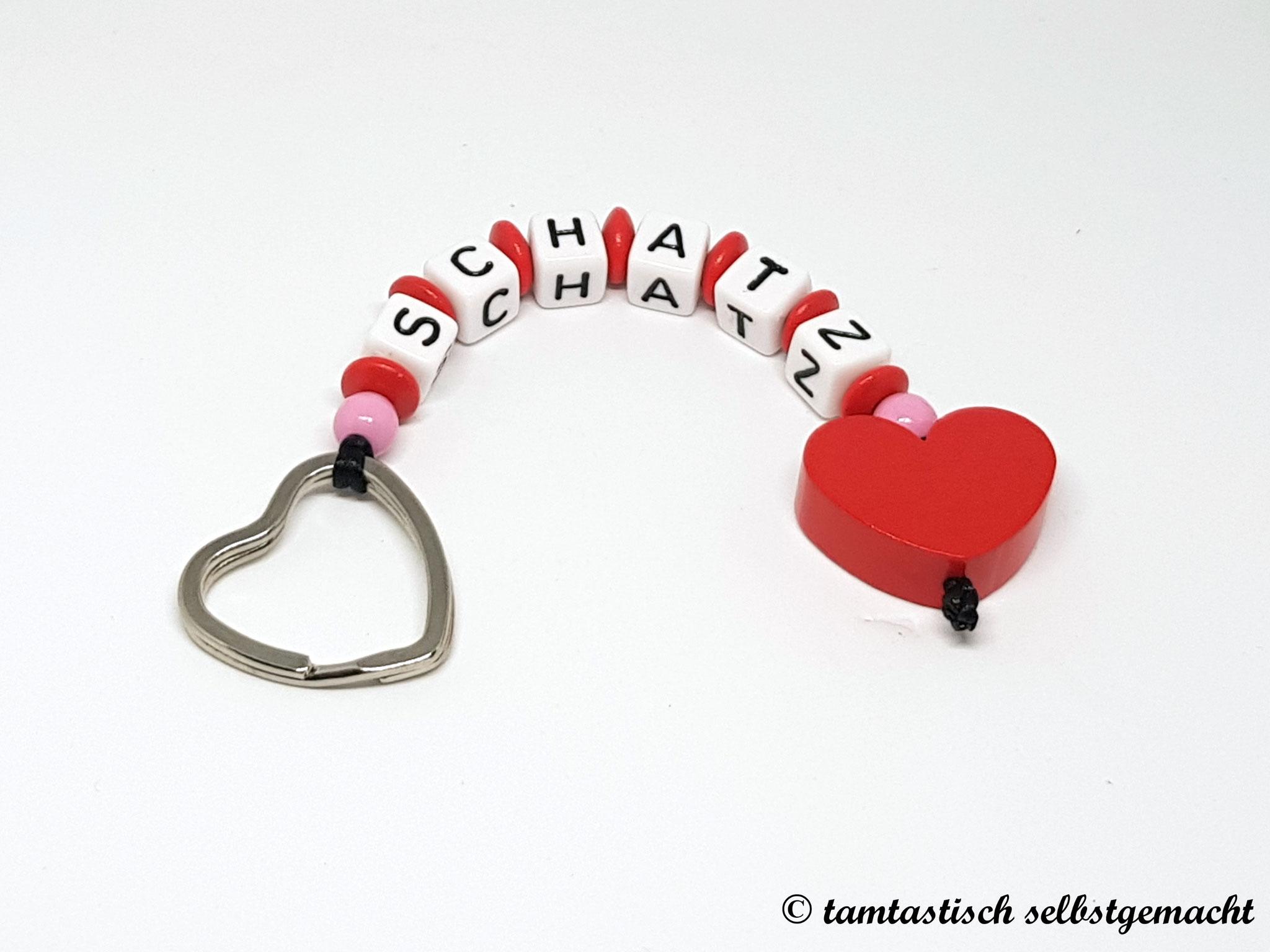 Schlüsselanhänger Schatz - Herz rot