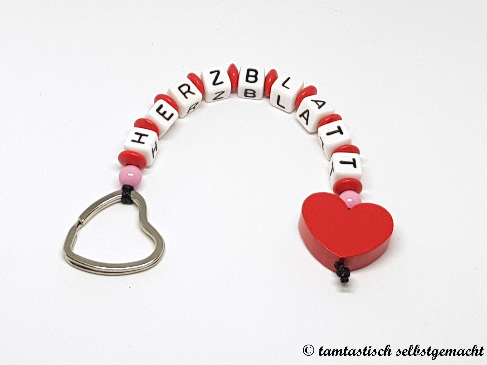Schlüsselanhänger Herzblatt - Herz rot