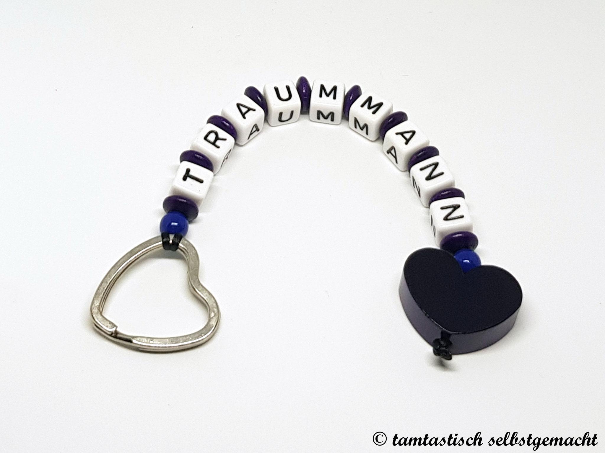Schlüsselanhänger Traummann - Herz dunkellila