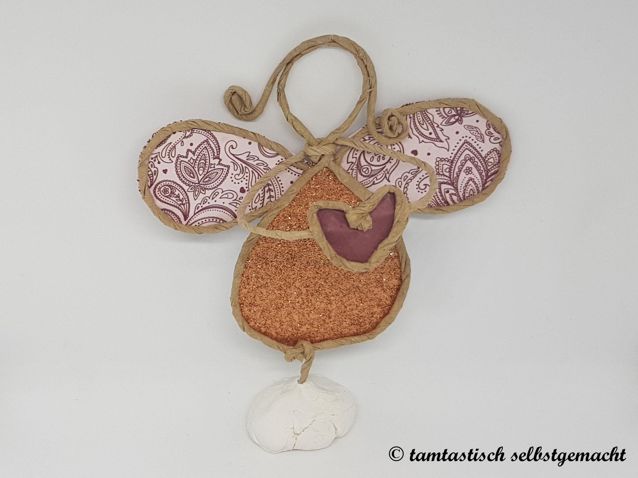 Papierdrahtfigur Engel mit Herz (goldener Bauch)