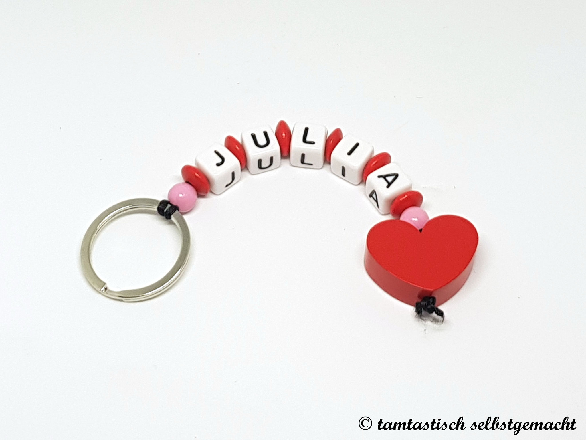 Schlüsselanhänger mit Namen - Herz rot - personalisierbar