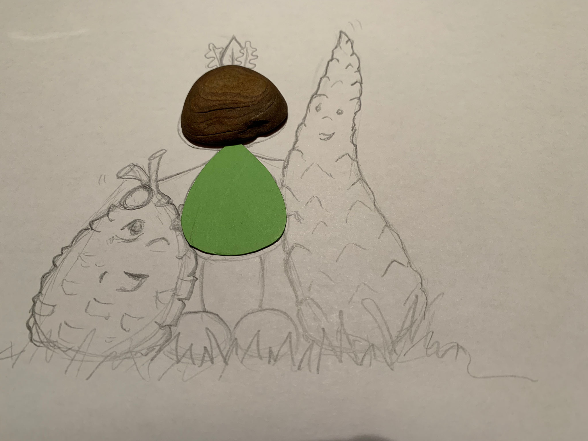 2018: Die schlaubatz Figur entsteht - aus einem Stein und der Form einer Eichel.