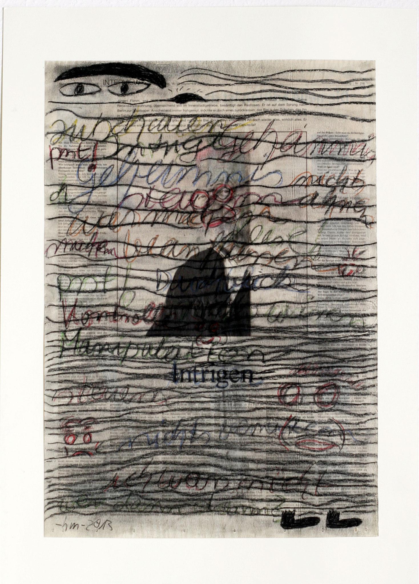 intrigen - 2013 - Kohle, Pastellkreide auf Zeitung - 57 x 40 cm