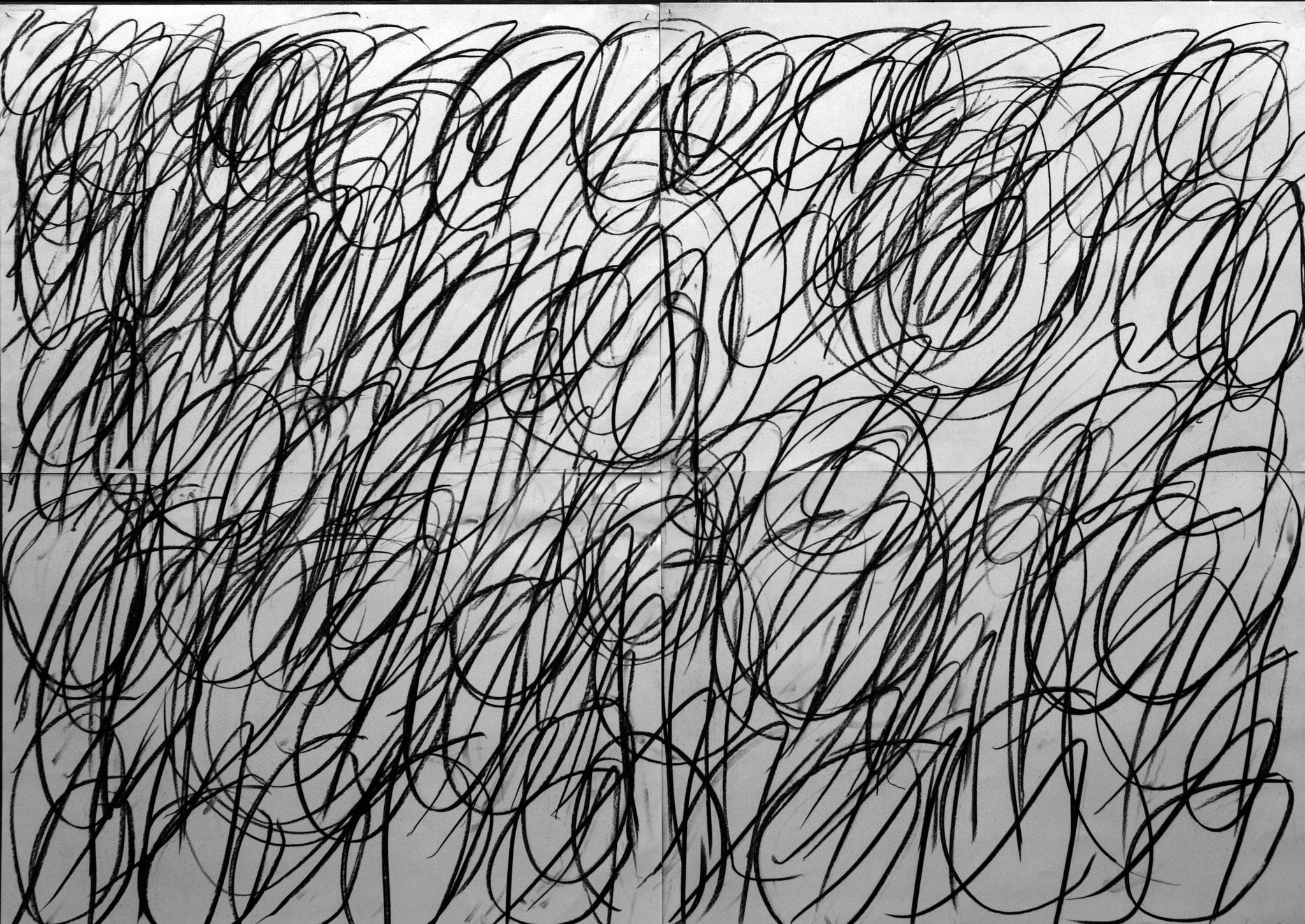 binär x 4 II - 2016 - Kohle auf Papier - 100 x 140 cm (4-teilig)