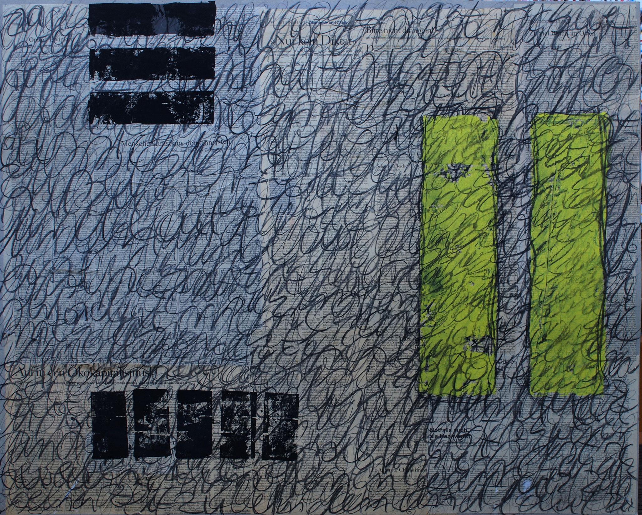 wirtten - 2016 - Zeitung, Bleistift, Kohle, Linoldruck auf Pappe - 80 x 100 cm
