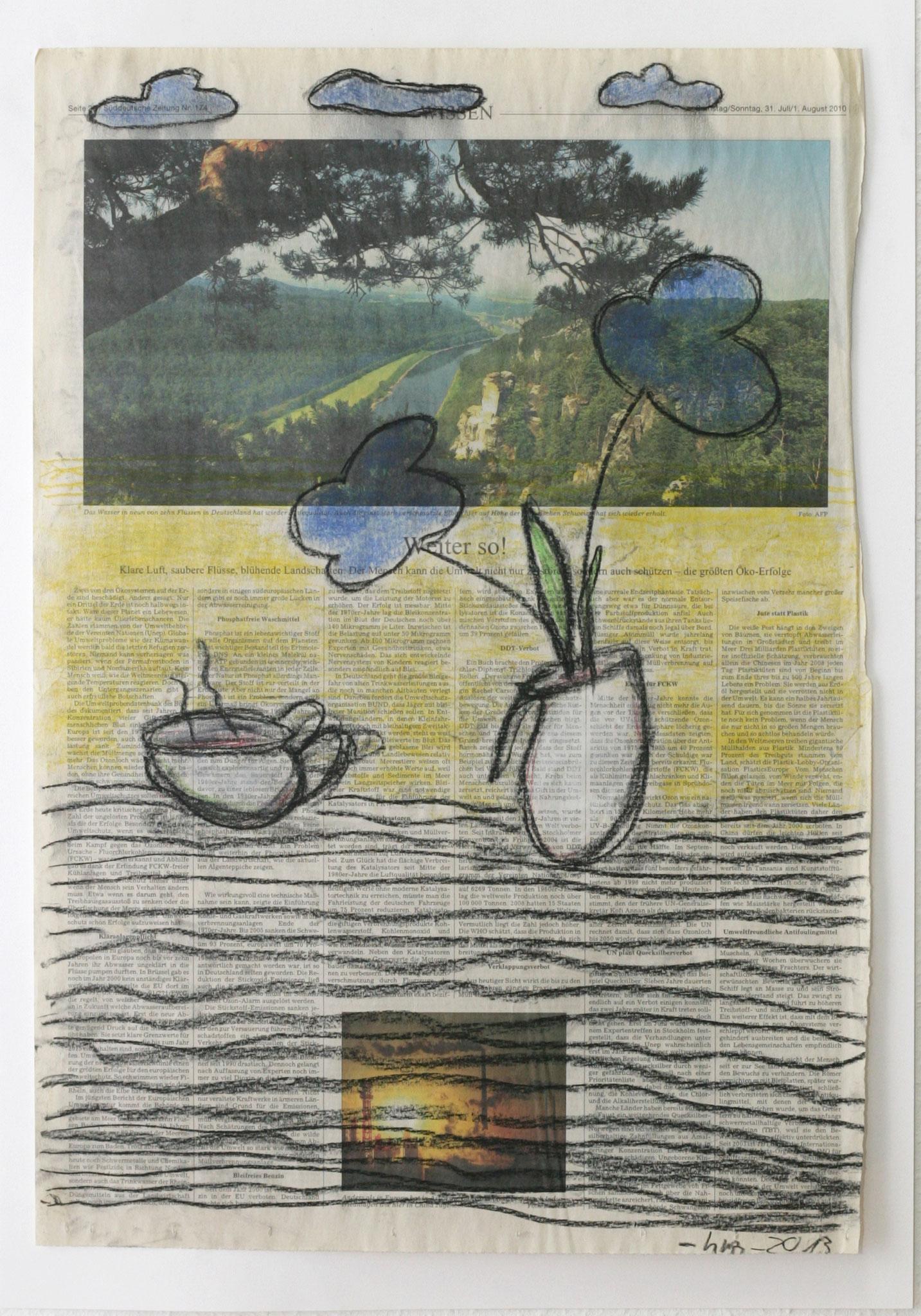 schön - 2013 - Kohle, Pastellkreide auf Zeitung - 57 x 40 cm