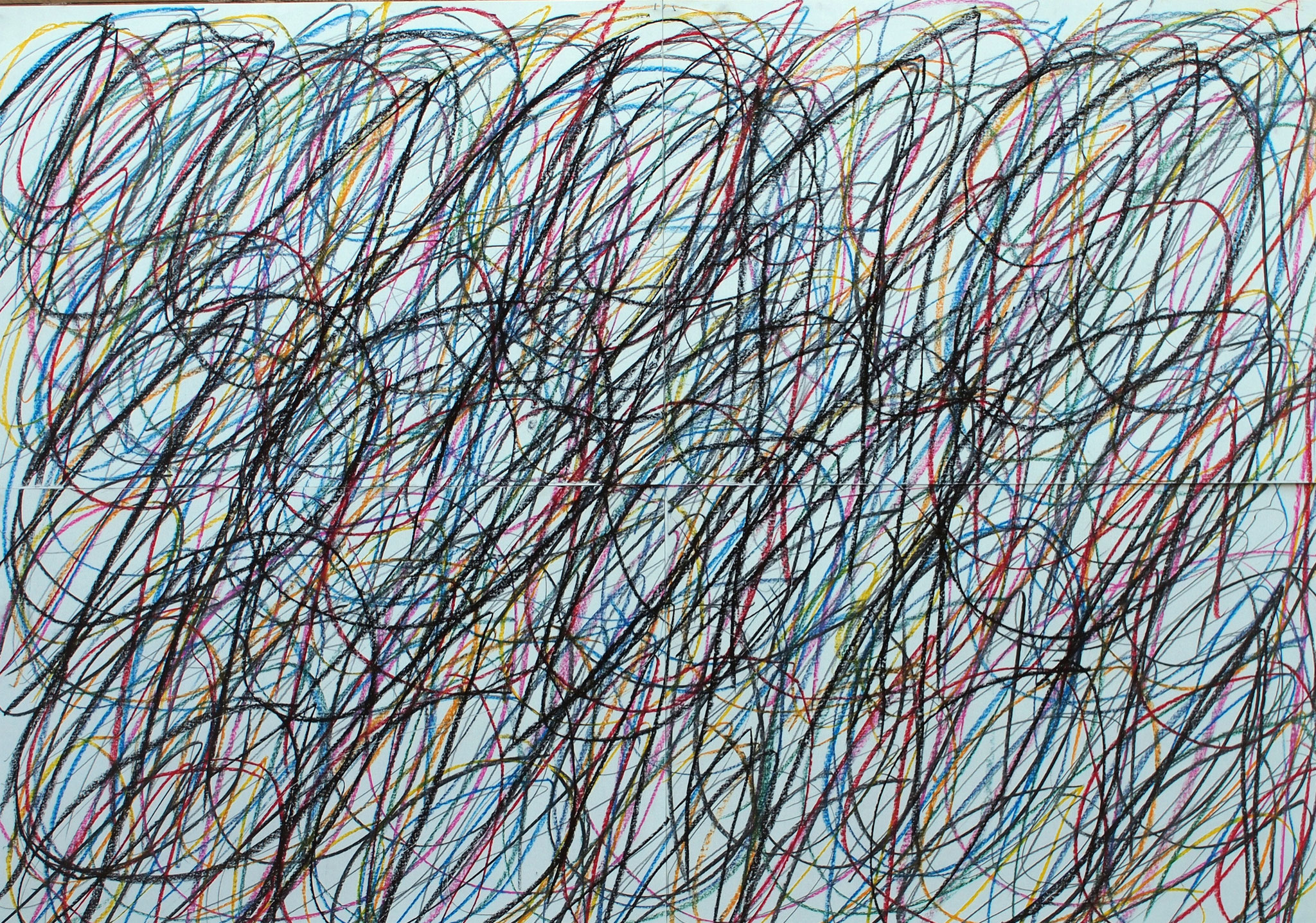 binär x 4 - 2016  - Pastellkreide, Kohle auf Papier - 100 x 140 cm (4-teilig)