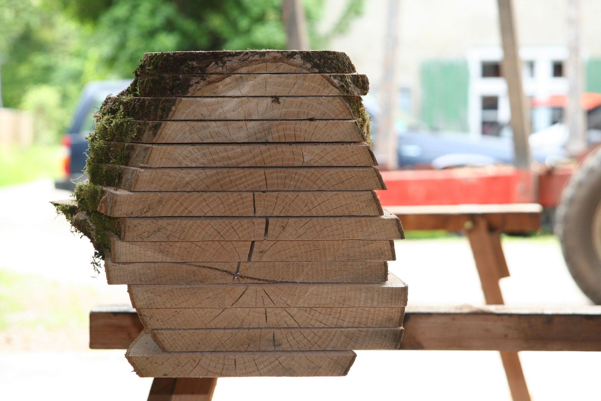 Aufgeschnittenes Eschenholz zum Trocknen