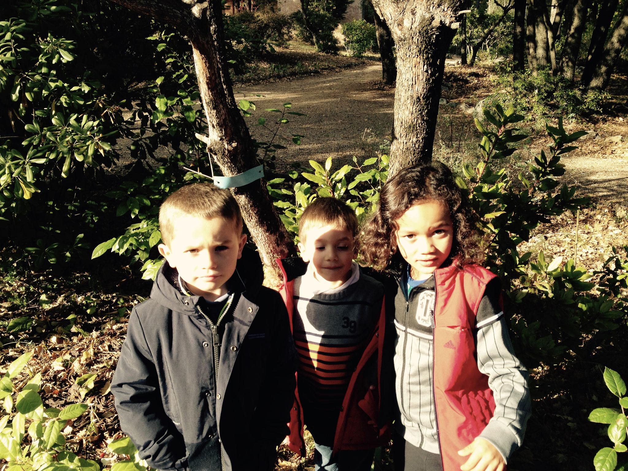 Sacha, Tristan et Owen devant l'arbousier