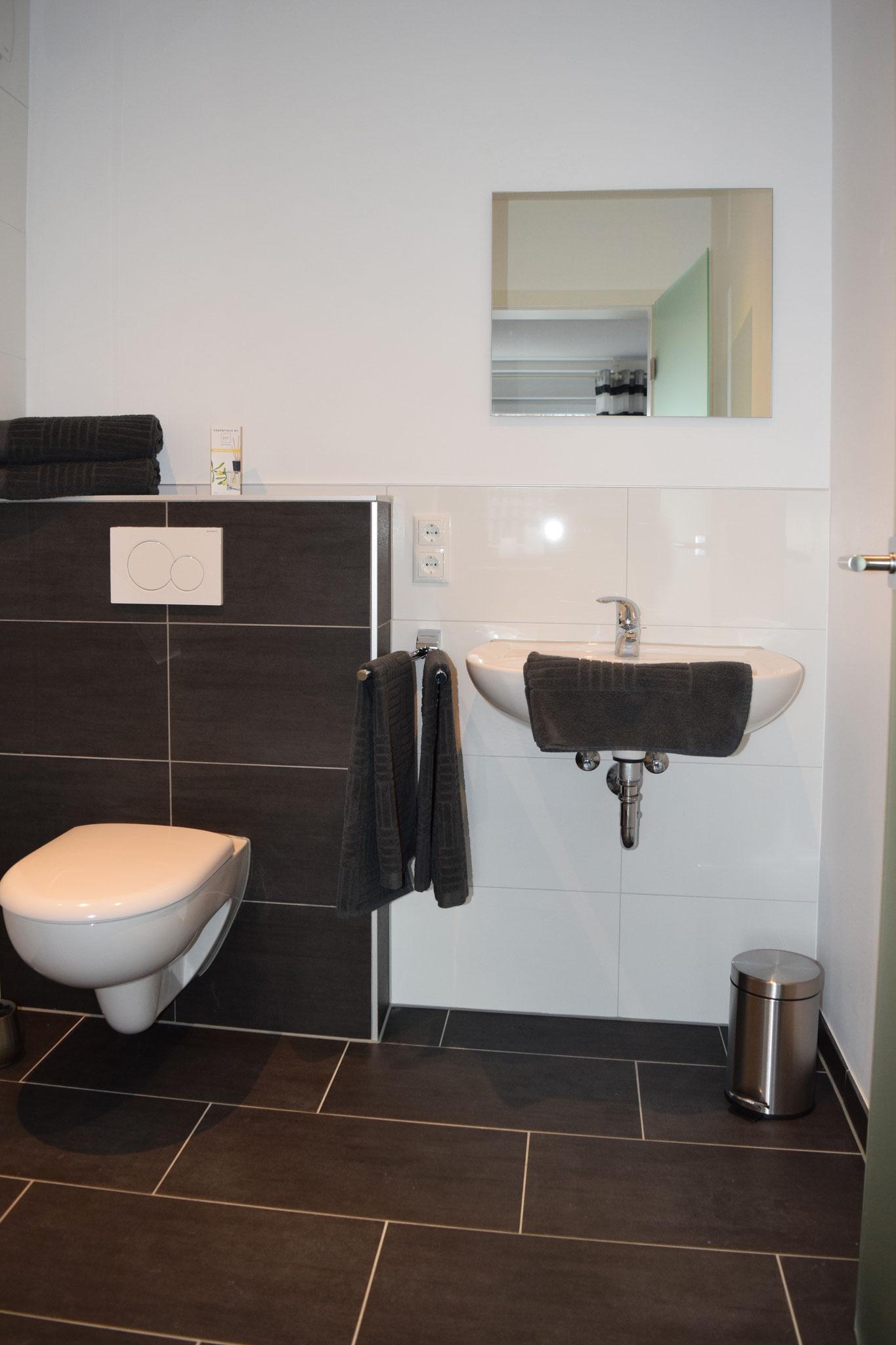 WC und Waschbecken mit Handtüchern